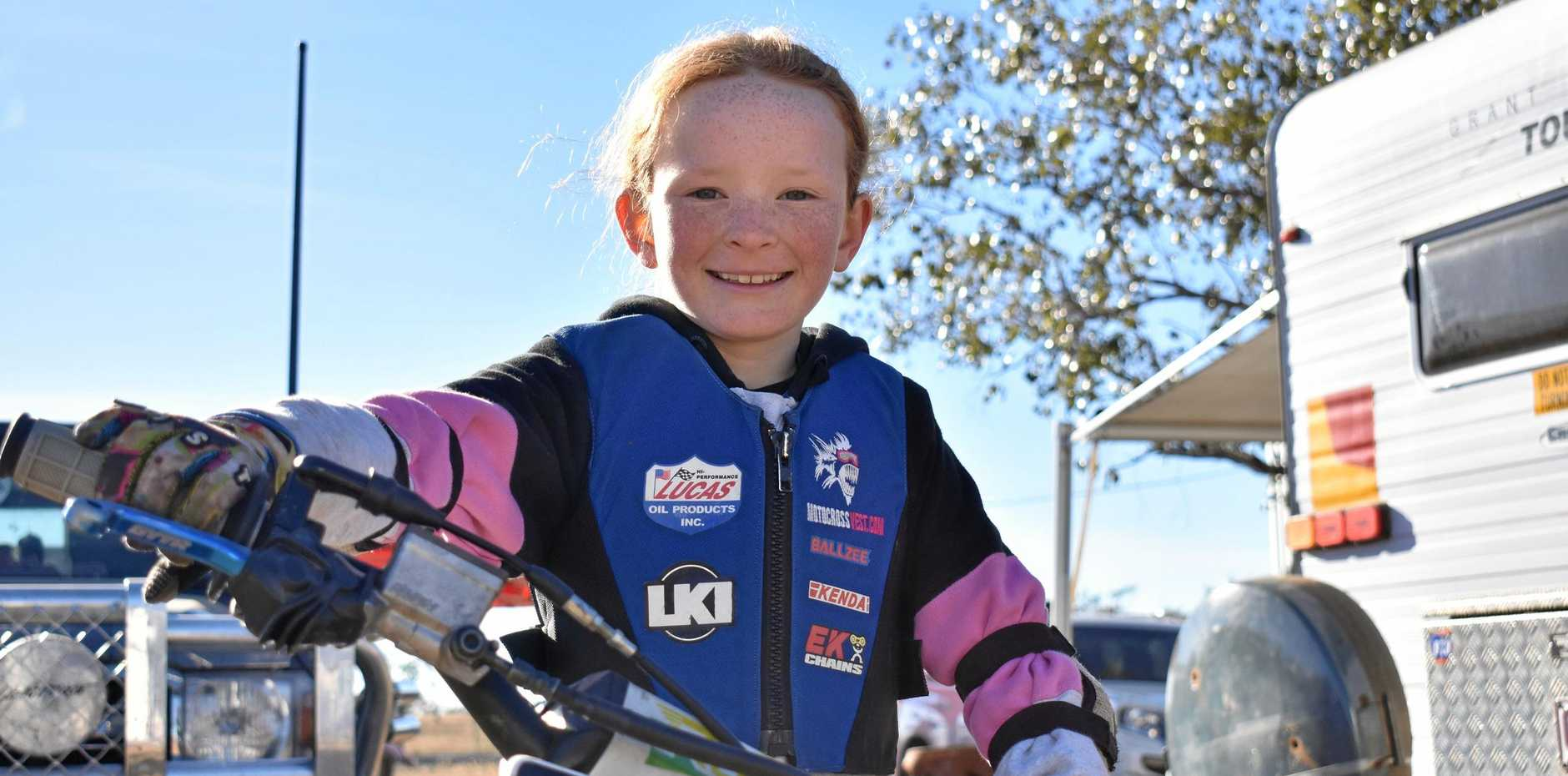 POCKET ROCKET: Brooke Ball, 8, competes in two classes at the Queensland Women's and Veterans' Championship.