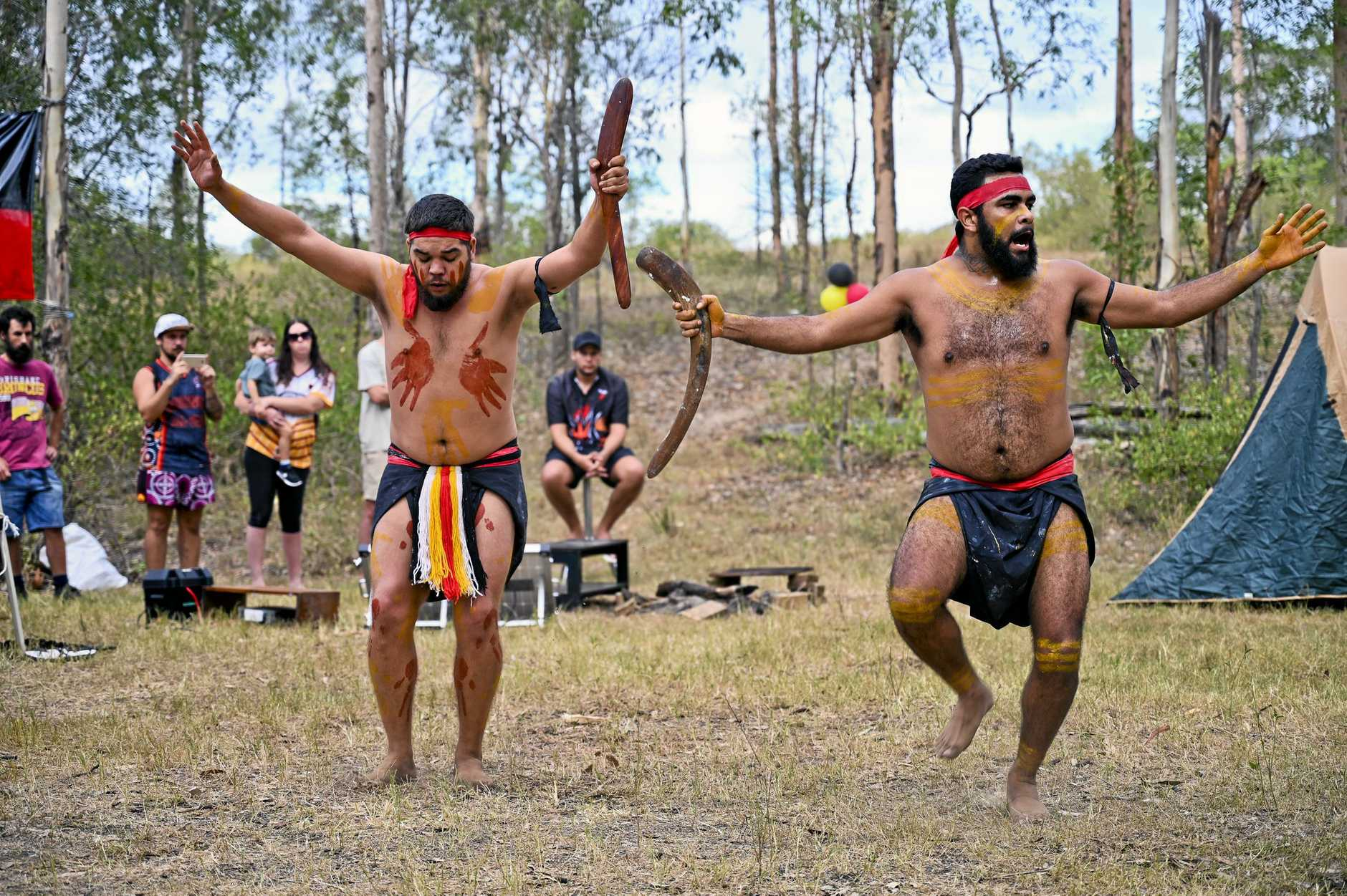 TRADITIONAL: Aboriginal dancers at the Deebing Creek camp, which has been occupied for more than 160 days.