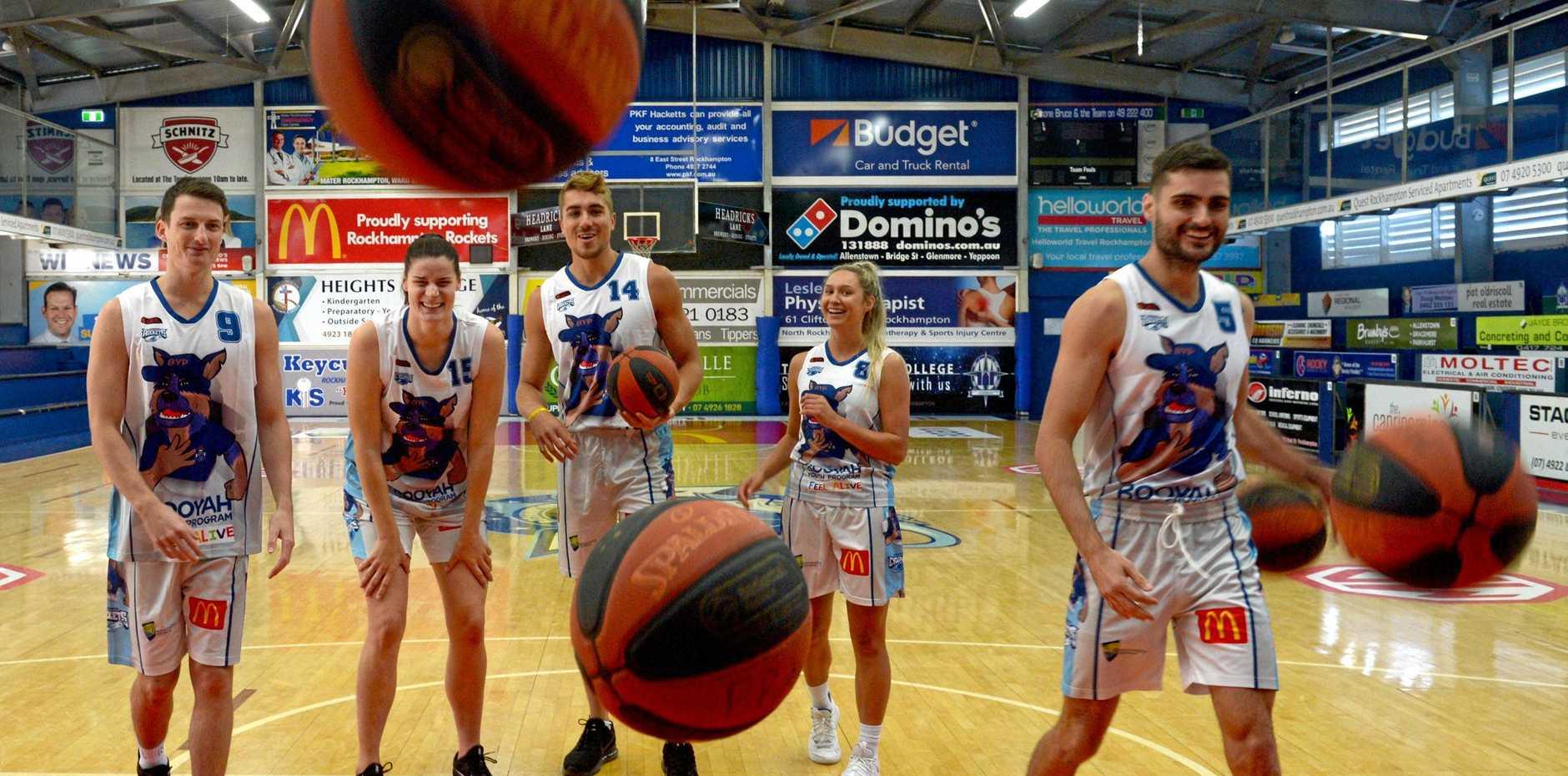 Rockhampton basketballers Shaun Bruce, Jacinta Vandenberg, Nelson Kahler, Brooke Blair and Jimmy Mitchell model the new Project Booyah kit