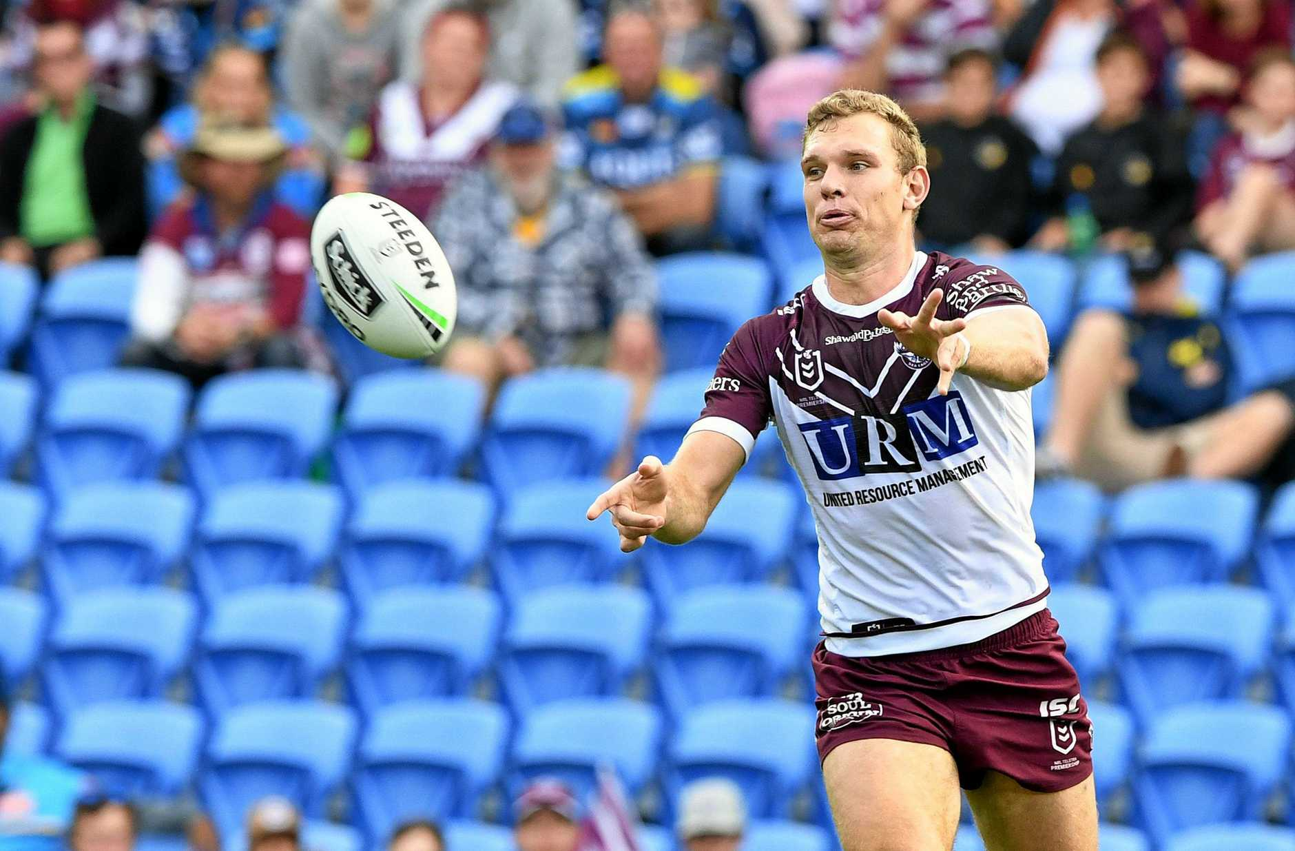 Tom Trbojevic of the Sea Eagles  during the Round 15 NRL match between the Gold Coast Titans and the Manly Sea Eagles at CBus Super Stadium on the Gold Coast, Saturday, June 29, 2019. (AAP Image/Dave Hunt) NO ARCHIVING, EDITORIAL USE ONLY