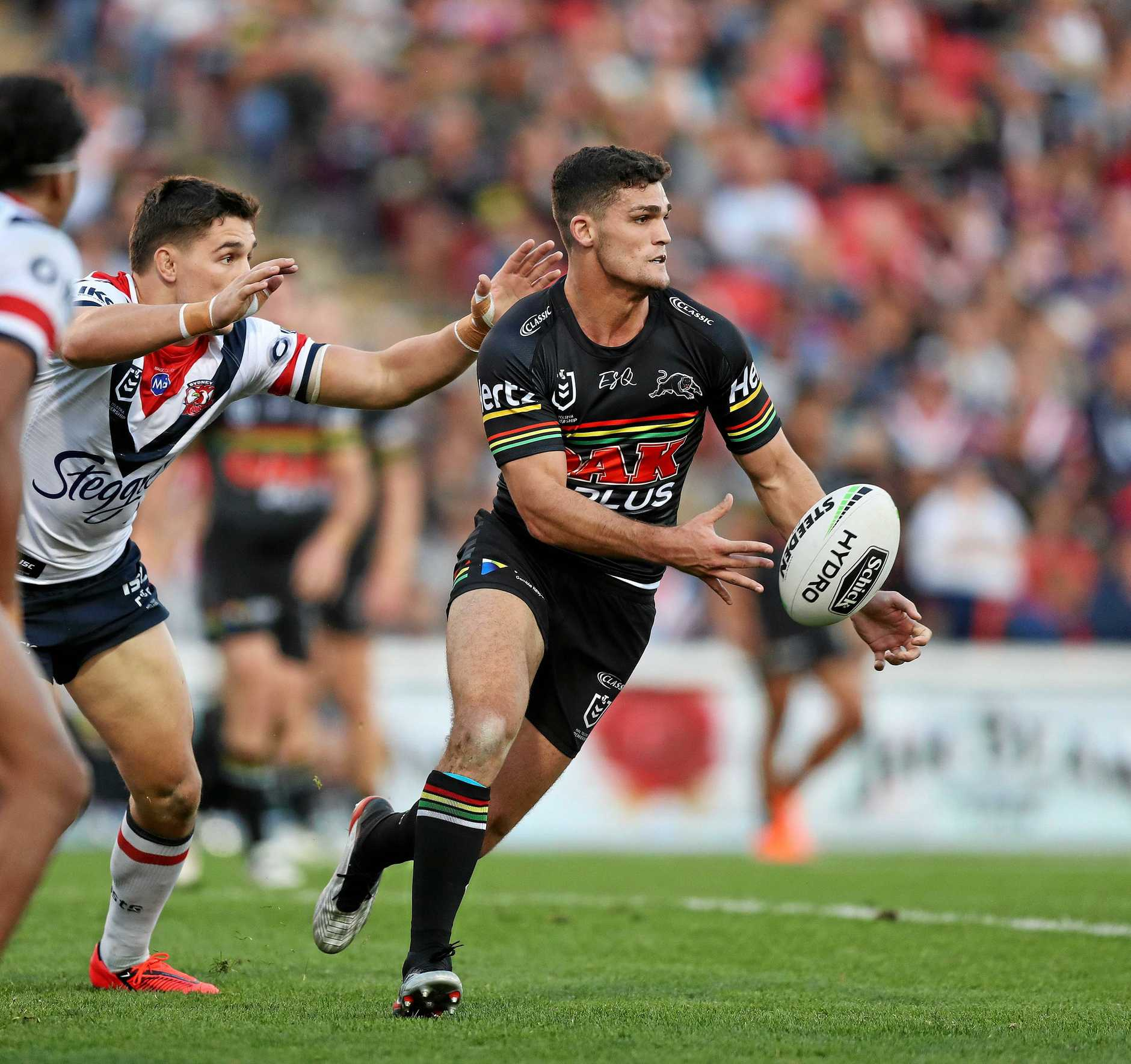 Penrith's Nathan Cleary during the Penrith v Sydney Roosters NRL match at Penrith Stadium, Sydney. Picture: Brett Costello
