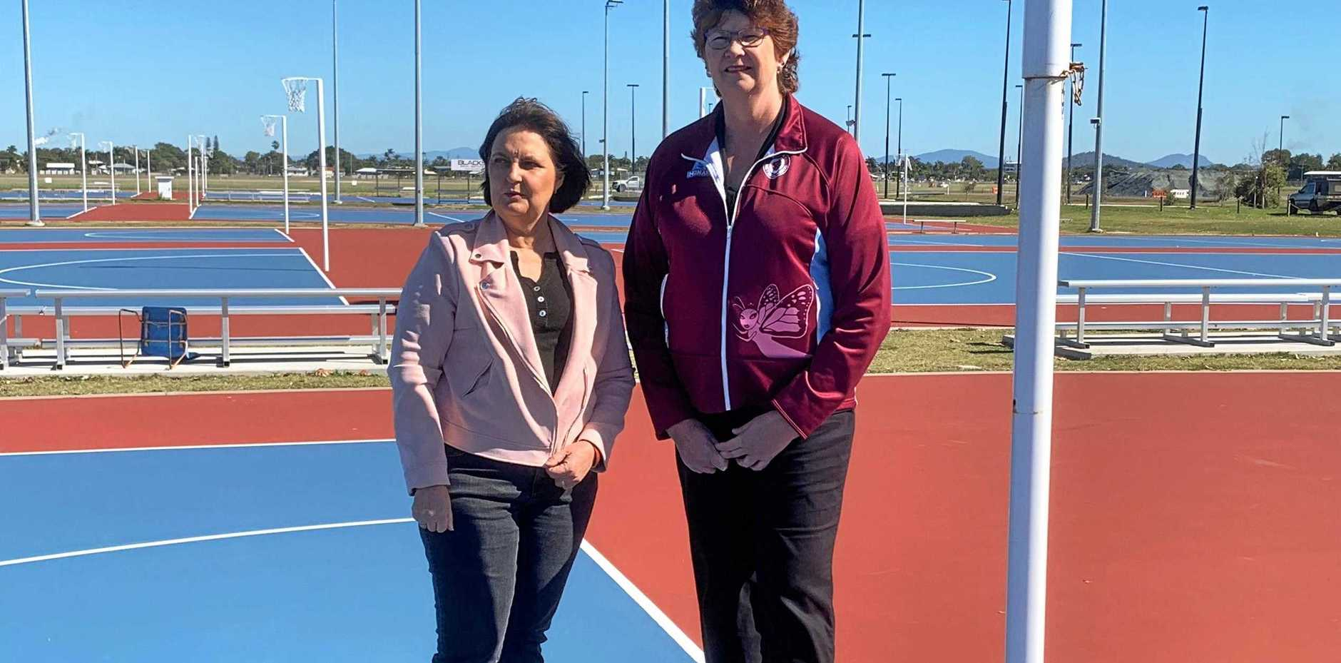 OLYMPIC BID: Mackay MP Julieanne Gilbert and Mackay Netball Association life member Lyn Law.