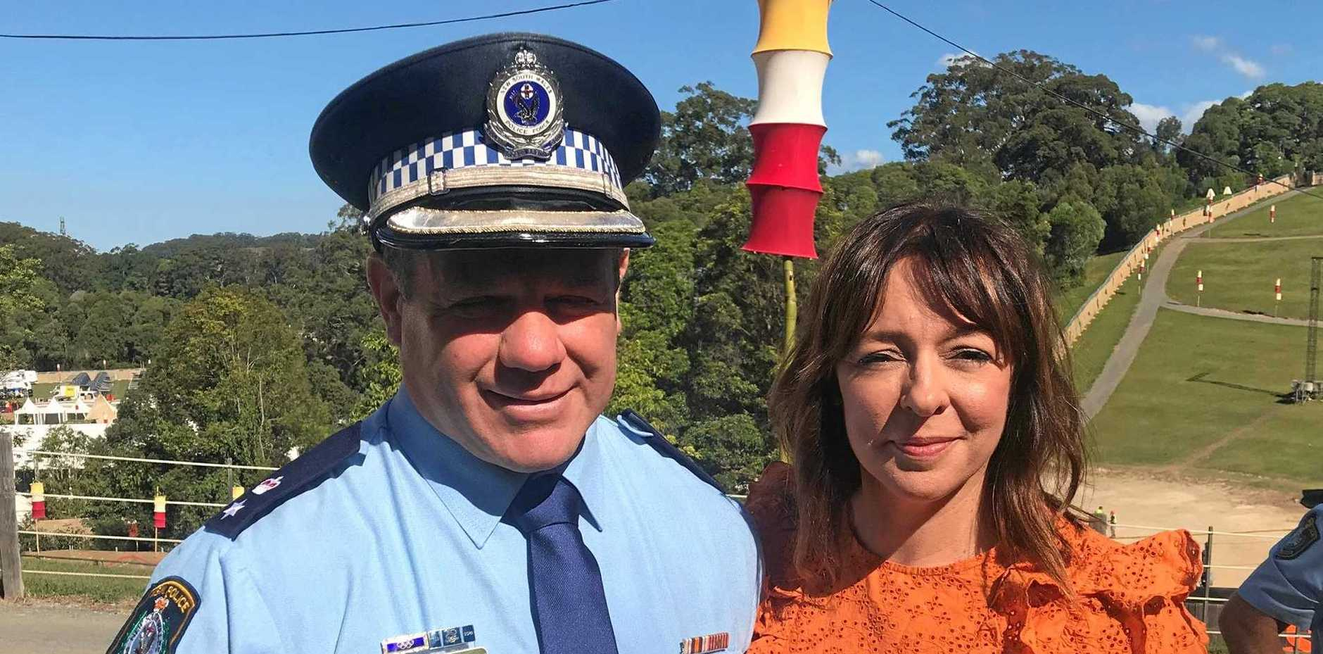 READY: Festival co-founder Jessica Ducrou and Tweed/Byron Police District Commander, Superintendent Dave Roptell at North Byron Parklands.