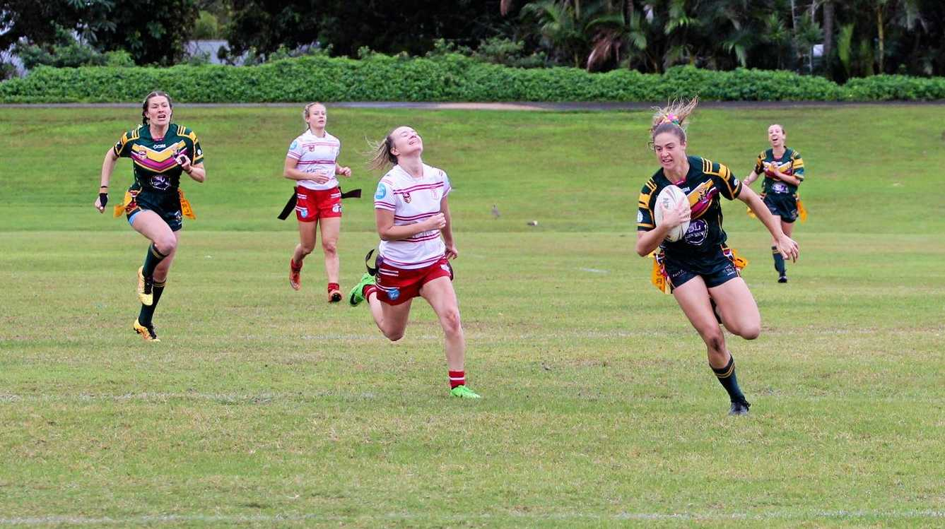 BREAKING THROUGH: Cudgen Hornets star Tarah Smith on her way to scoring a try against Byron Bay.