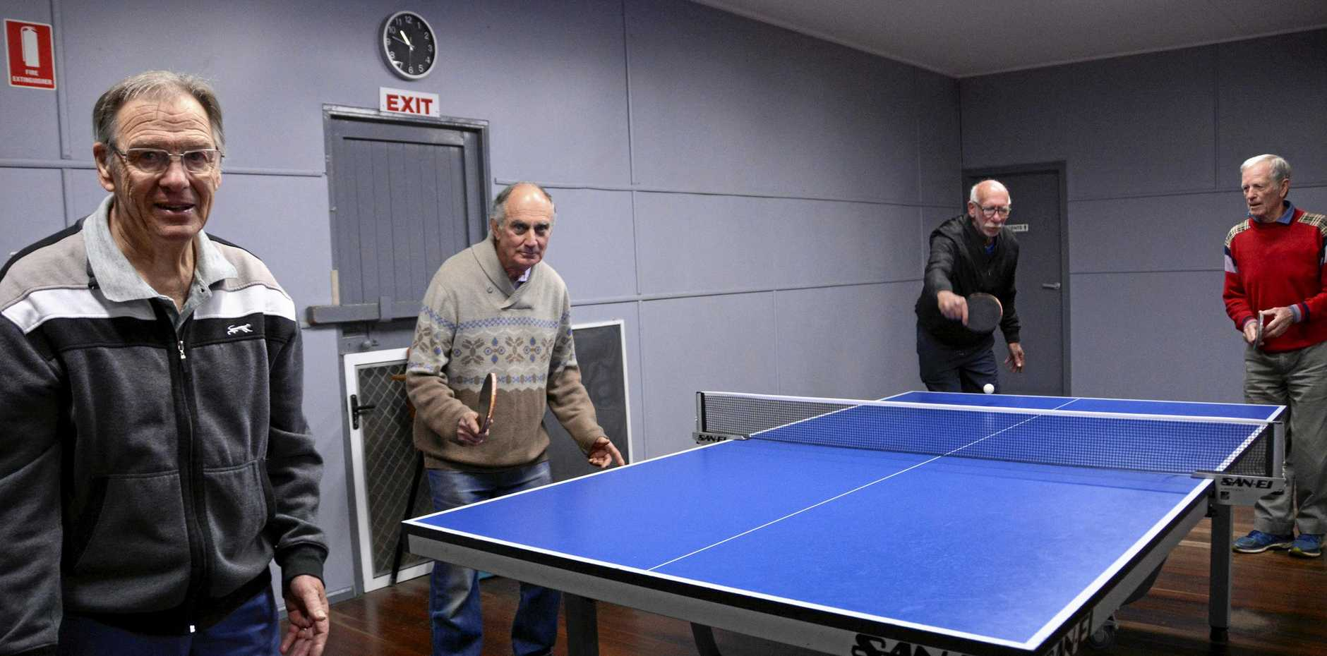 WHAT A RACKET: Enjoying a social game at the Toowoomba Table Tennis Association hall are (from left) Des Venz, David Andrew, Lee Brittian and Doug Mackintosh. The association is open to social and fixture games from Monday to Saturday. Visit toowoombatabletennis.club for more details.