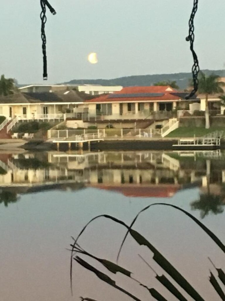 Cheryl Stratton-jones set her alarm to catch this photo of the partial lunar eclipse over the Gold Coast. Picture: Cheryl Stratton-jones