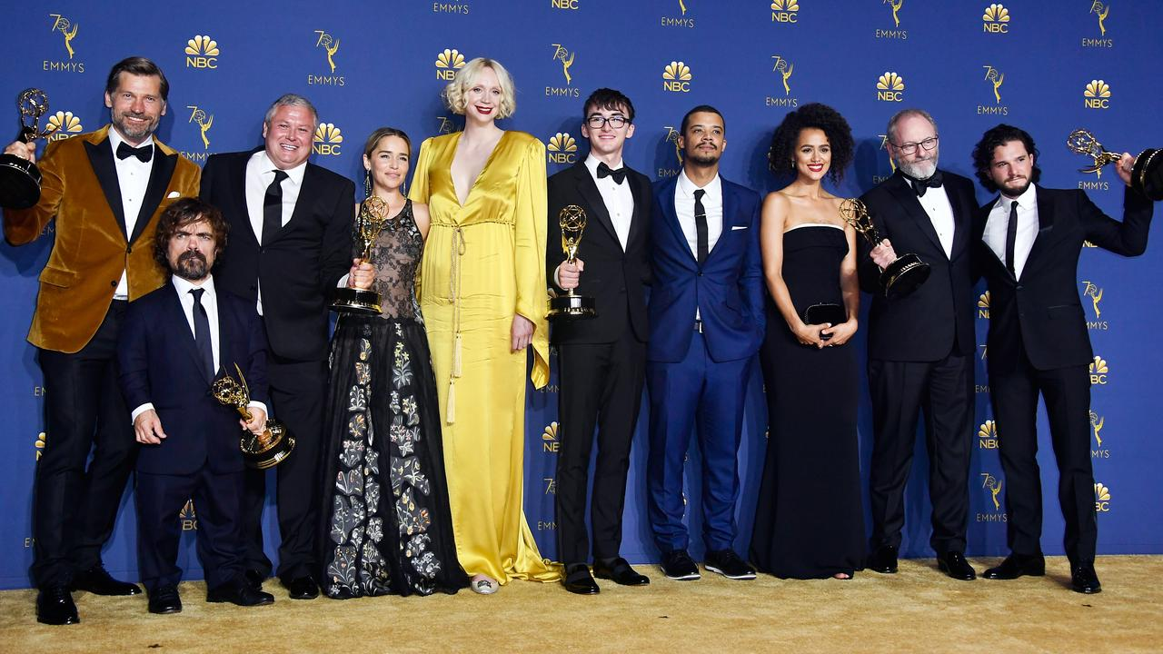 Cast of Outstanding Drama Series winner Game of Thrones at the Emmys in 2018. Picture: Getty