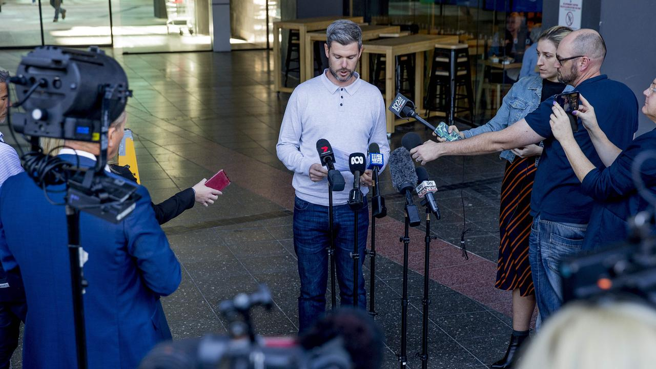 HelpStreet CEO Kris Bunker addressing media at a press conference regarding the situation at Earle Haven Retirement Village. Picture: Jerad Williams