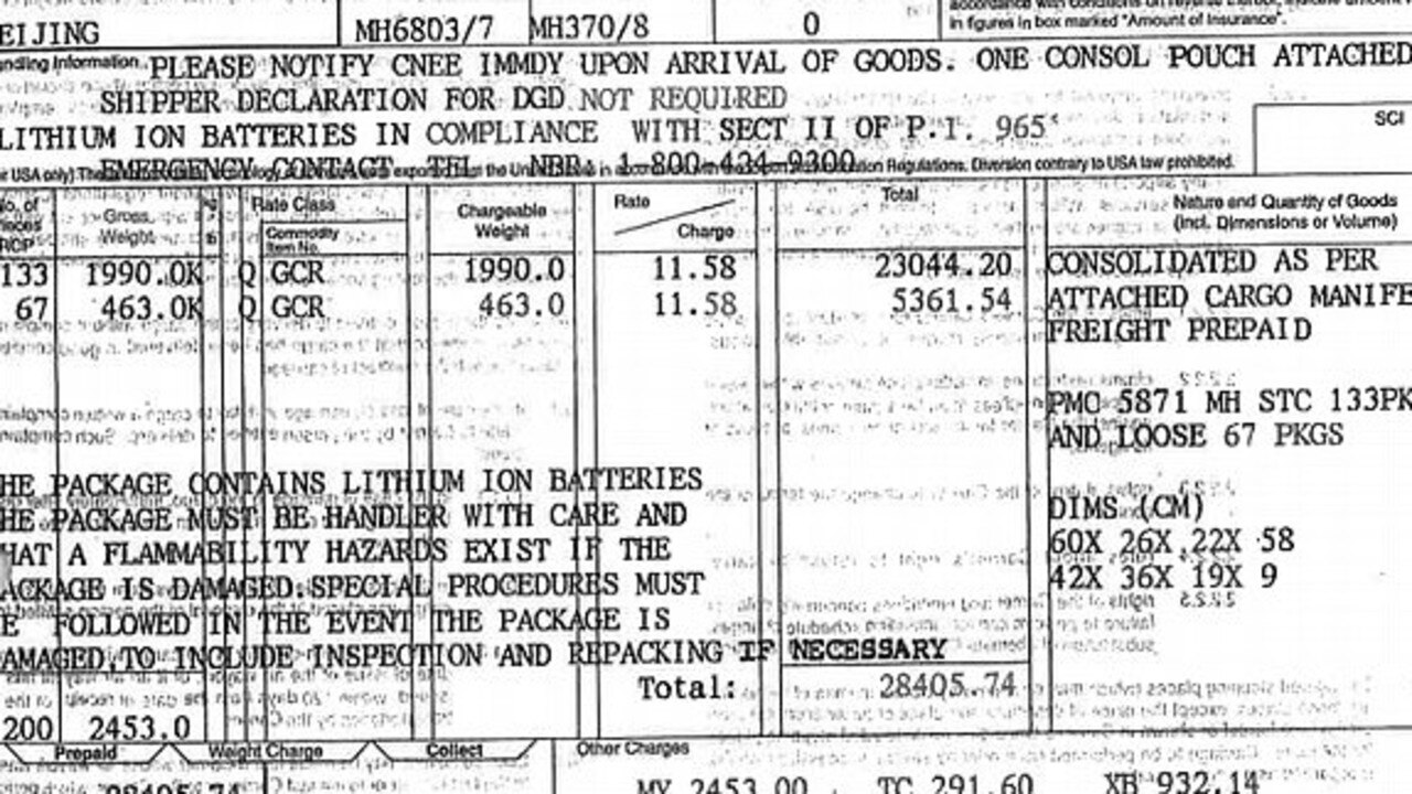 The document from NNR Global does not specify how many lithium batteries were on-board.