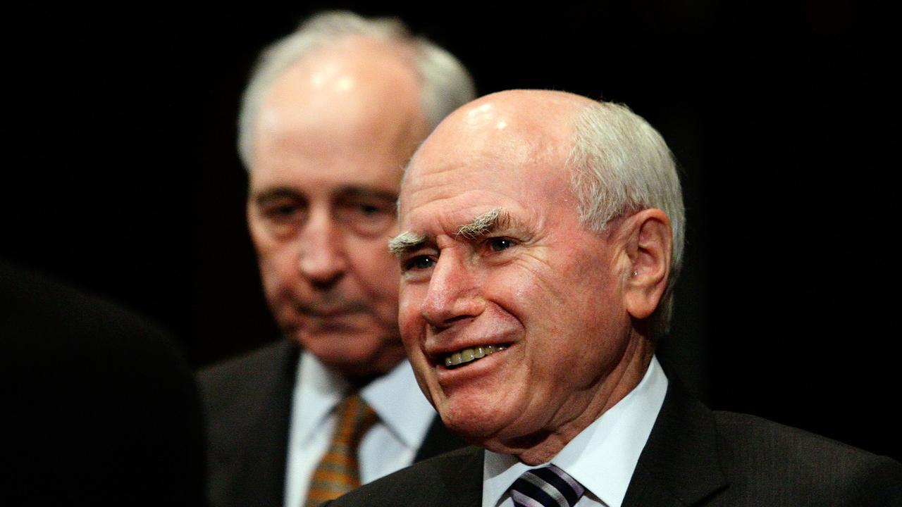 Former prime ministers Paul Keating and John Howard. Picture: Lisa Maree Williams