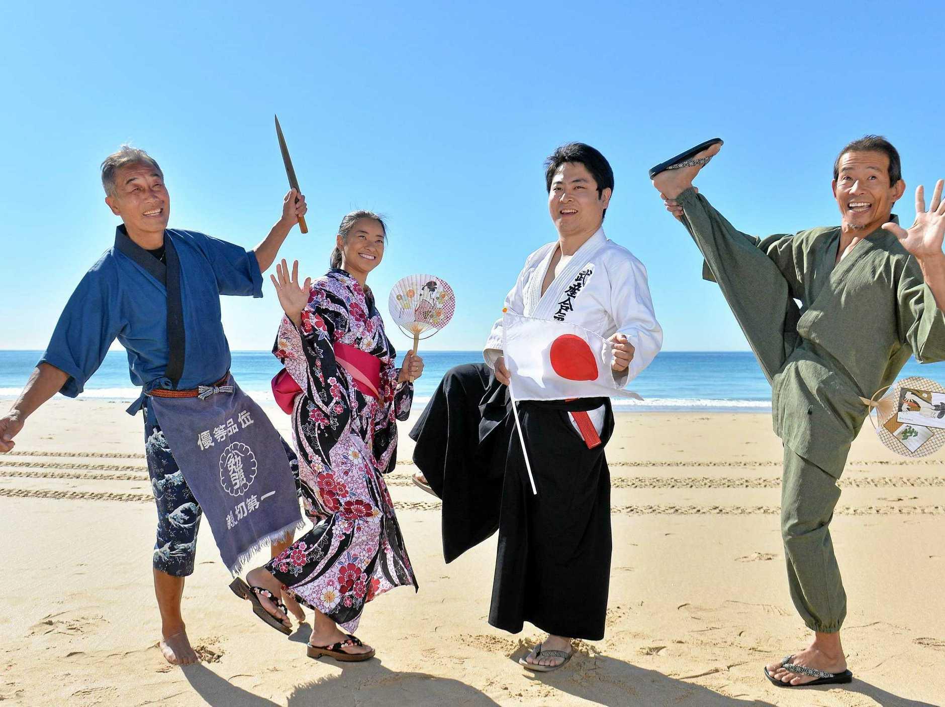 JAPAN FESTIVAL: In festival mode are Shiro Kitamura, Maiko Tsukimori, Tomo Akutsu and Genta Tsukimori.