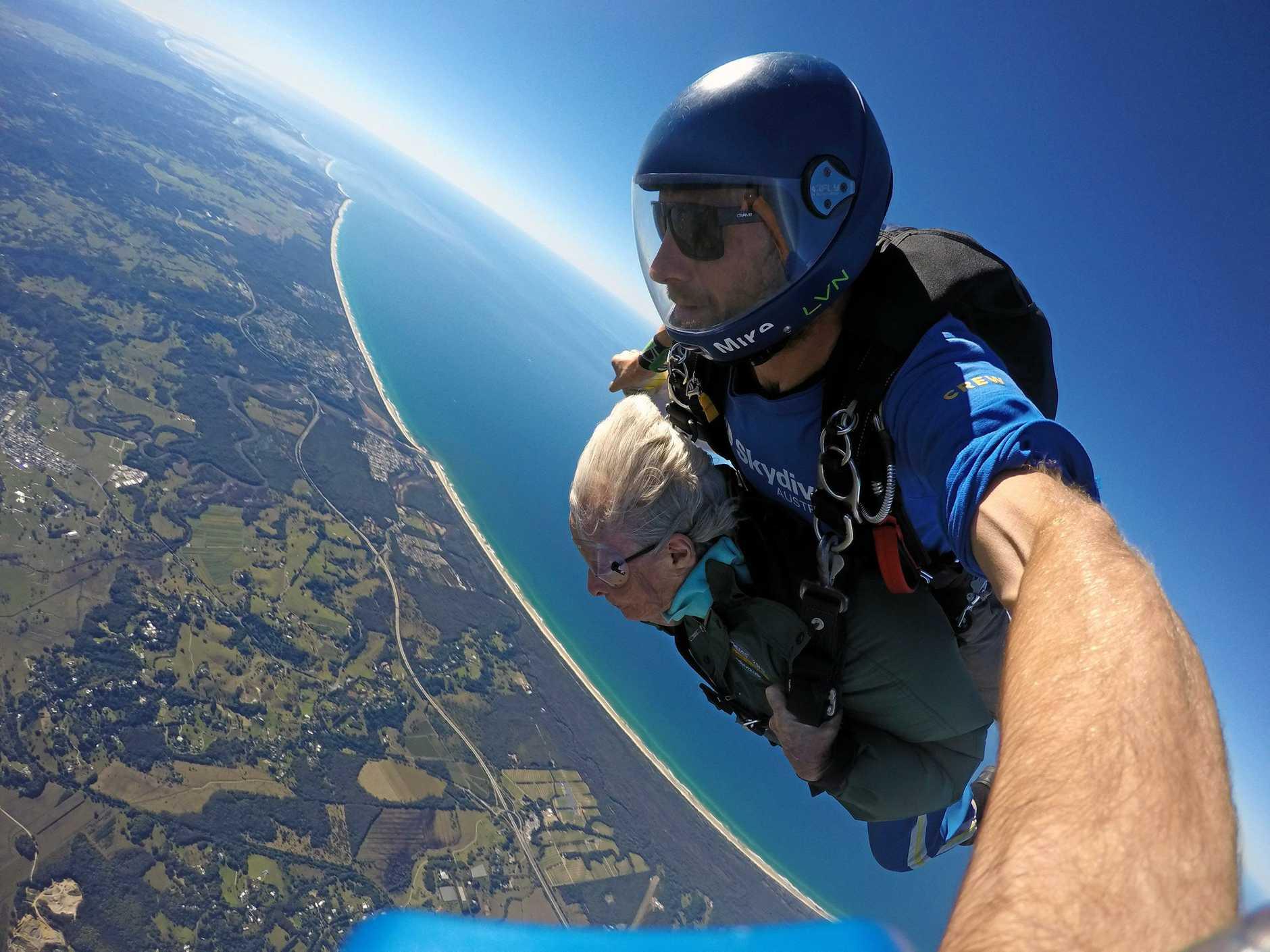 Marion Rose, 82, skydiving over Byron Bay.