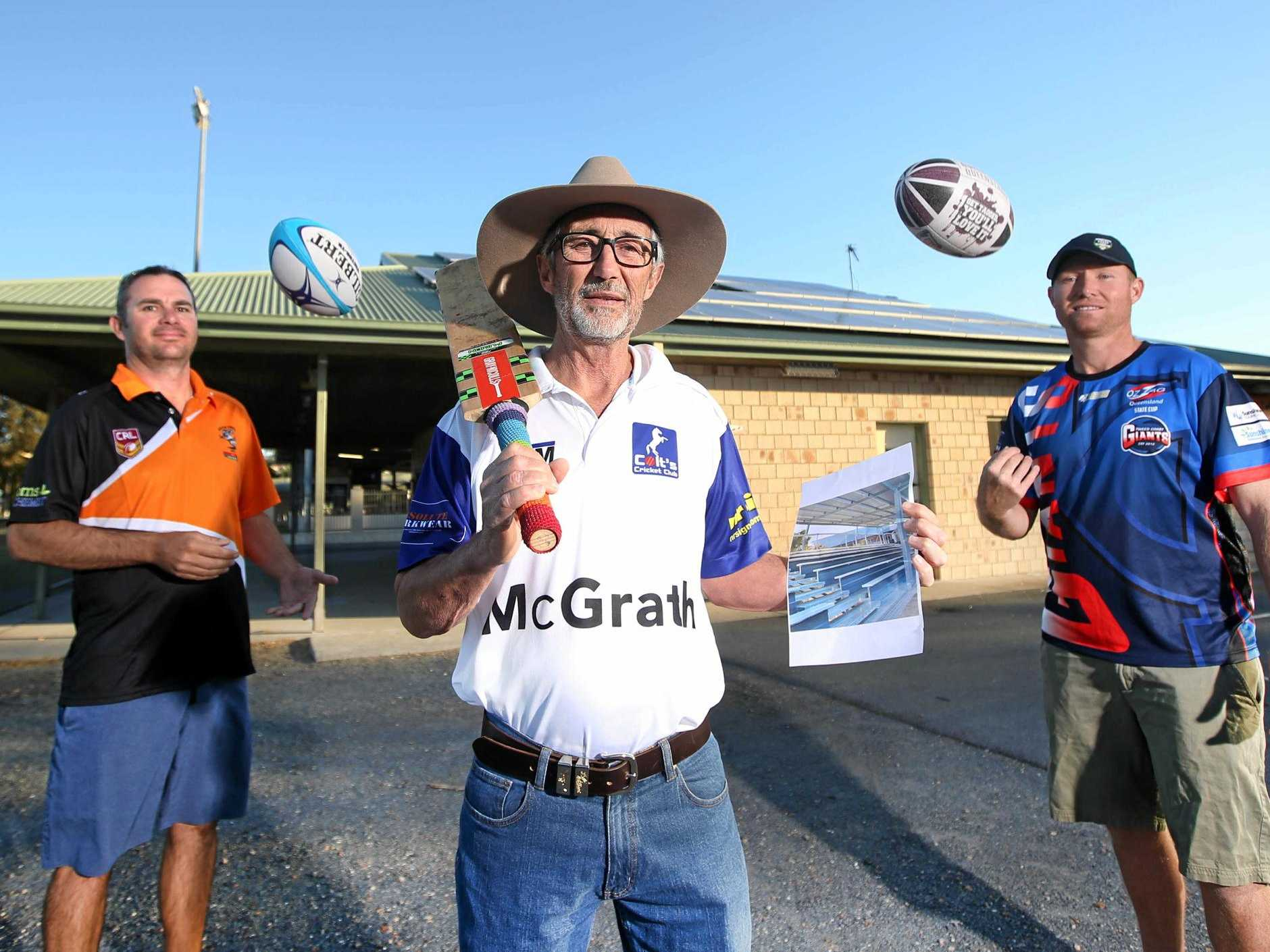 VOTE NOW: Three junior sport club presidents, Dan Stanford, Peter Mitchell and Rob Raymond want residents to vote in a competition so they can have the NSW Government fully fund a new grandstand.