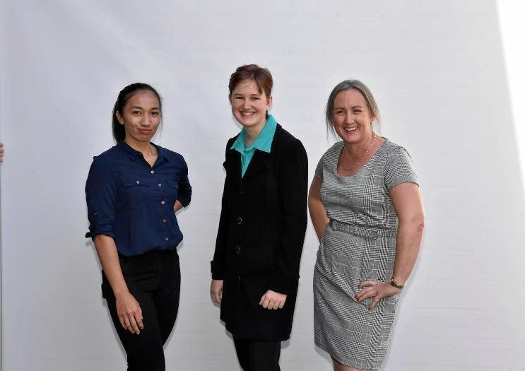 HIGH ACHIEVERS: Previous Downer scholarship recipient Charmaine Dig'O, and current recipients Anry Van Zyl and Tamara White.