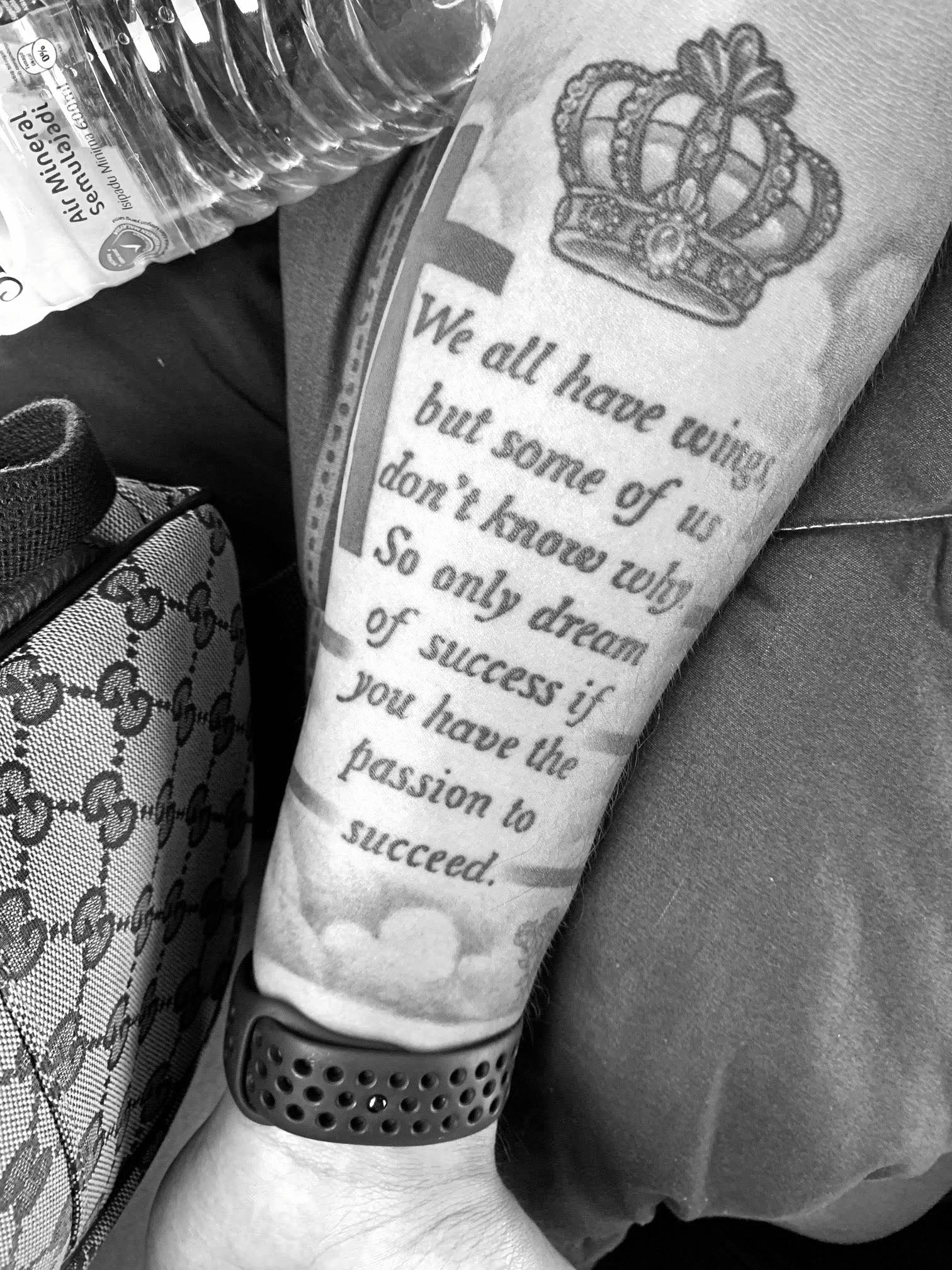 Footballer Josh Grommen's symbolic tattoo.