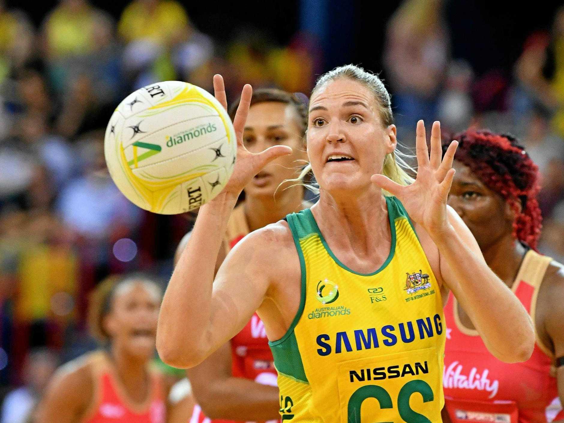 CAPTAIN: Caitlin Bassett of Australia in action.