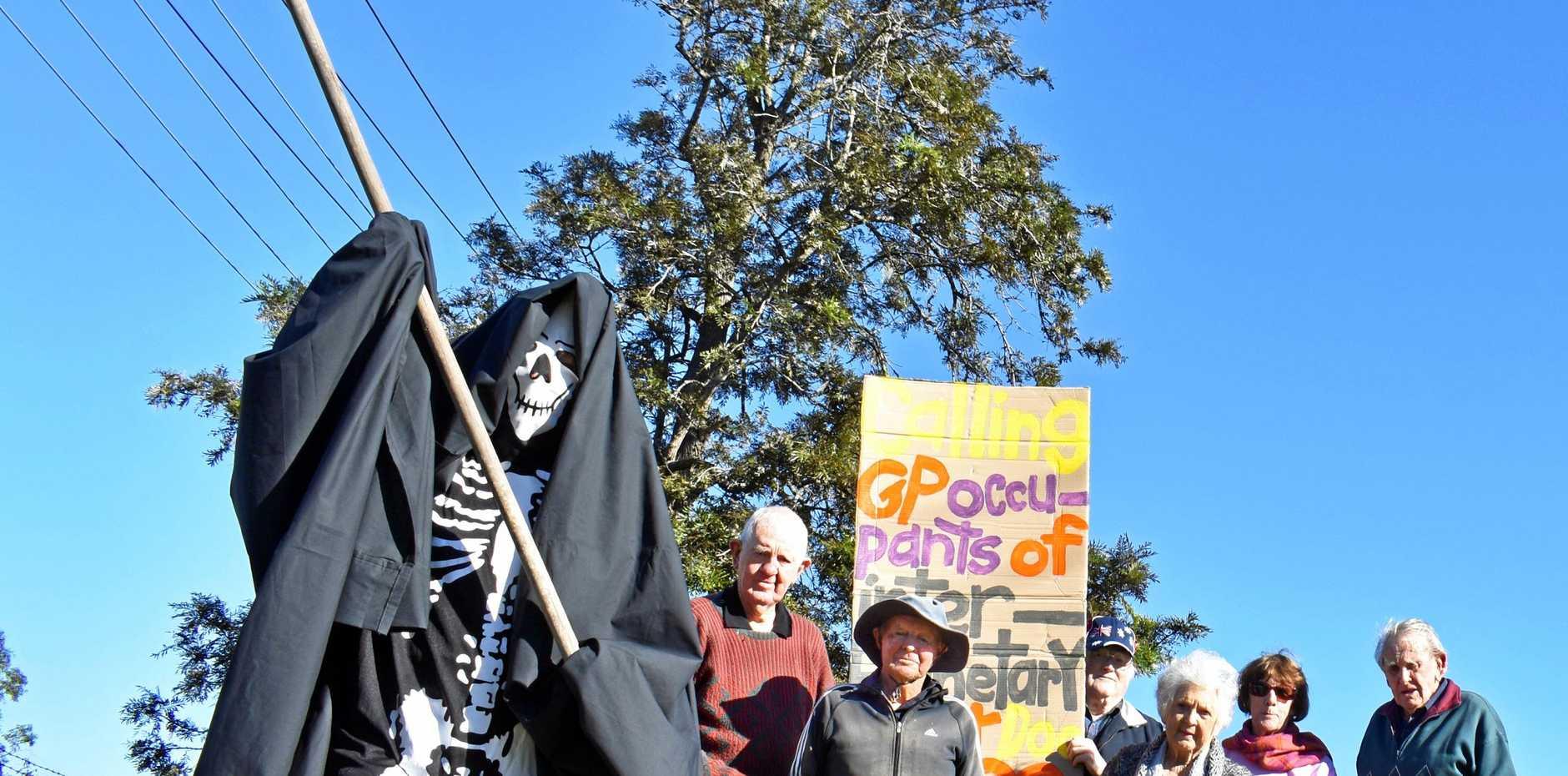 Grim protest about no doctor at the Coraki Campbell HealthOne facility in Coraki.