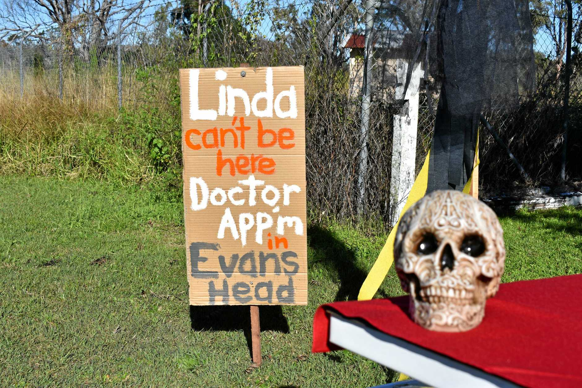 Linda couldn't be at the protest, she had a doctor's appointment.