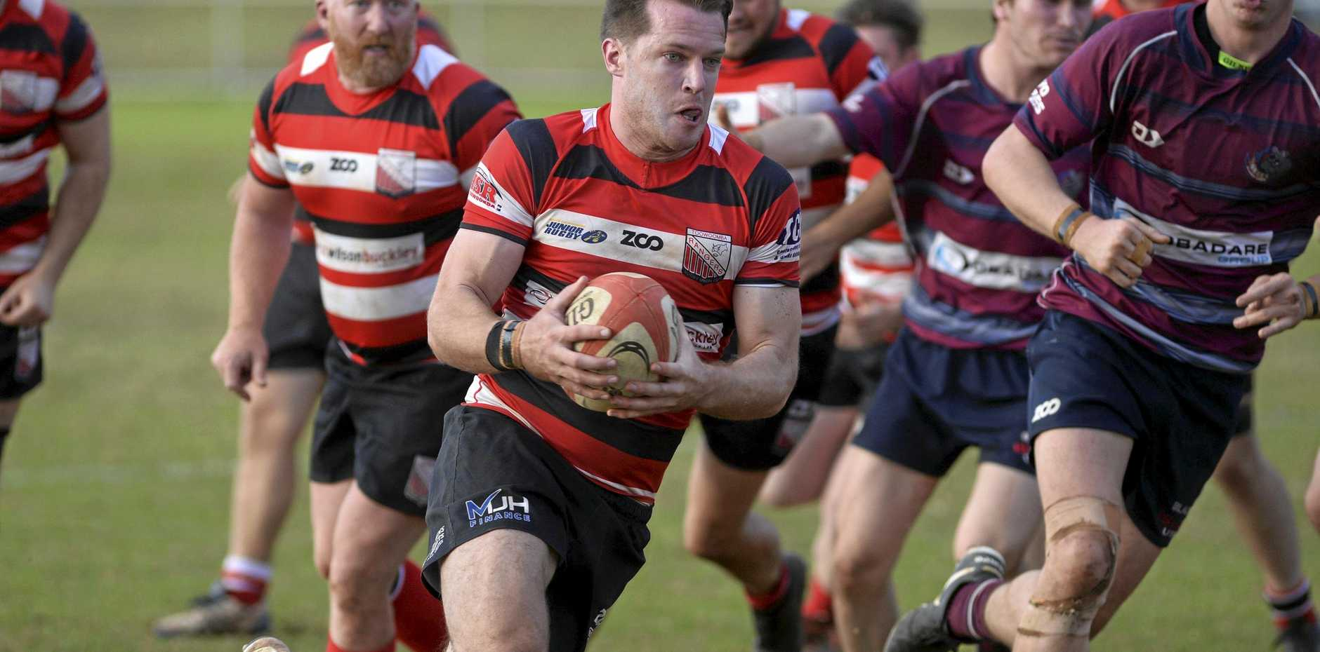 ON THE MOVE: Toowoomba Rangers player Fraser Hess has been in solid try-scoring form in the Risdon Cup.