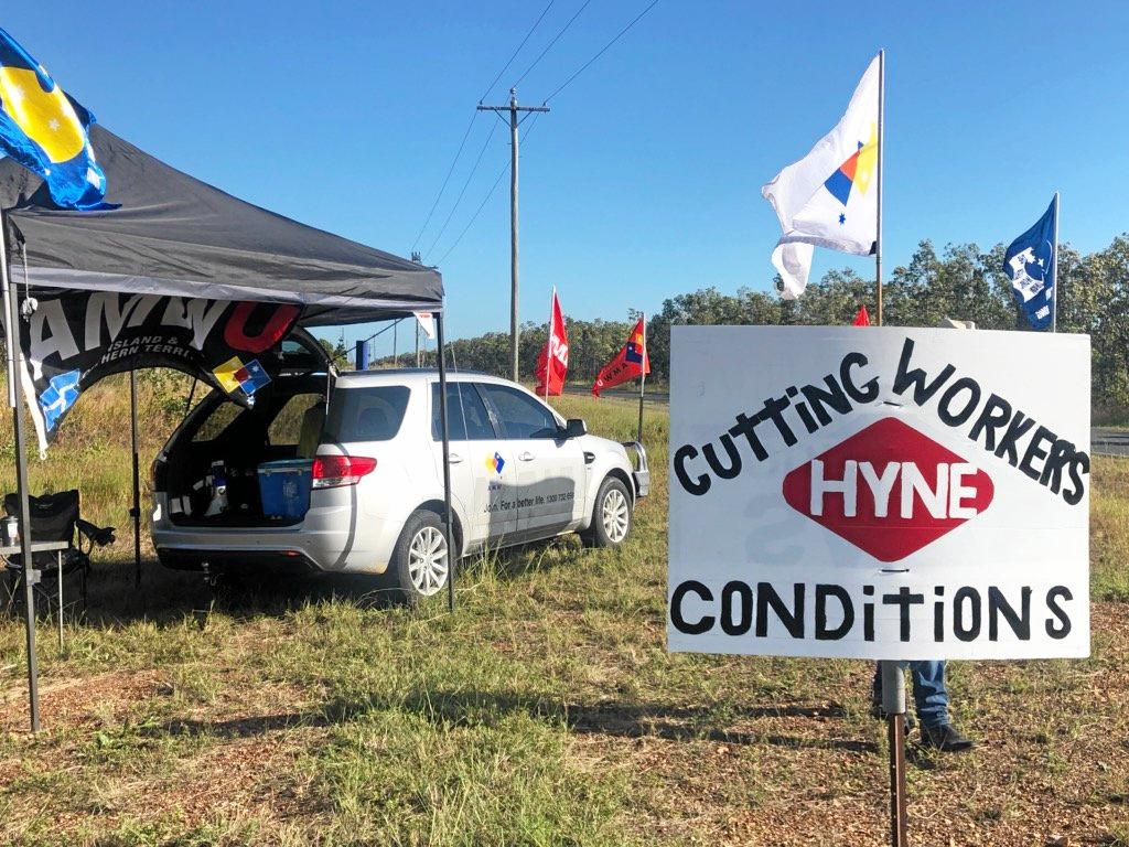 Australian Manufacturing Workers' Union protested outside of Hyne Timber Tuan Mill along the Maryborough Tuan Forest Rd for employees wages in May.