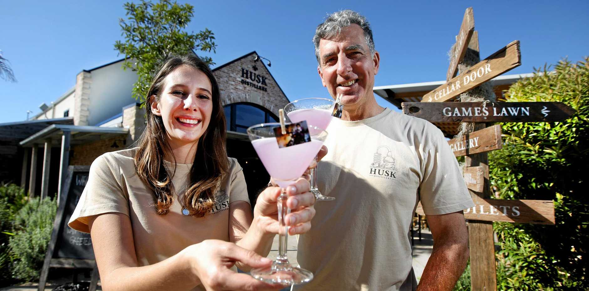 Husk Distillery's Harriet Messenger and her father Paul Messenger get ready to celebrate Husk's fourth birthday.