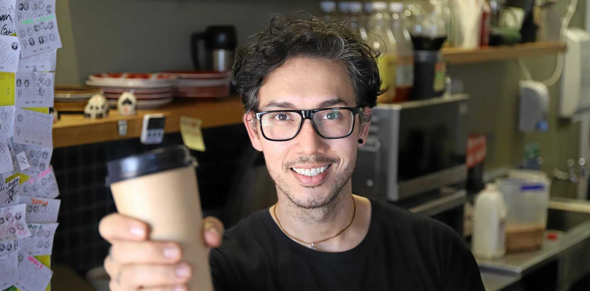 Adam Saron, employee at Woodman's Axe Espresso Mackay.