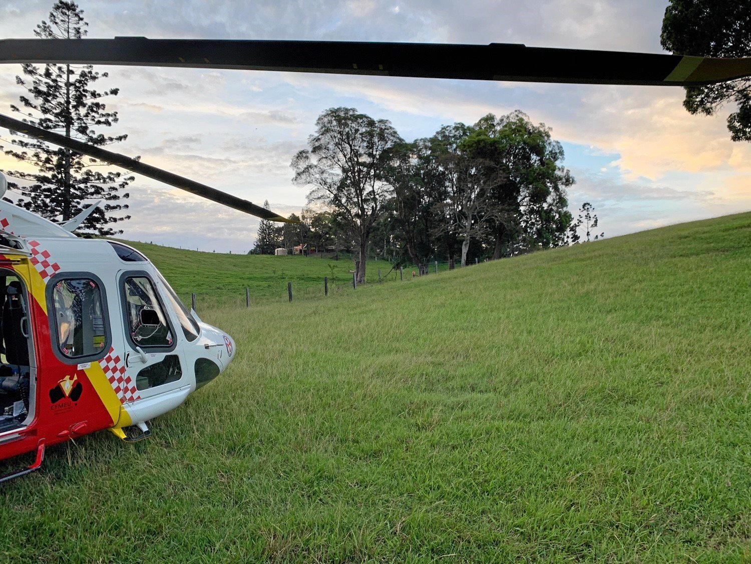 The Westpac Life Saver Rescue Helicopter was tasked to the Kyogle area to treat a 59-year-old man who had been injured by a falling haybale.