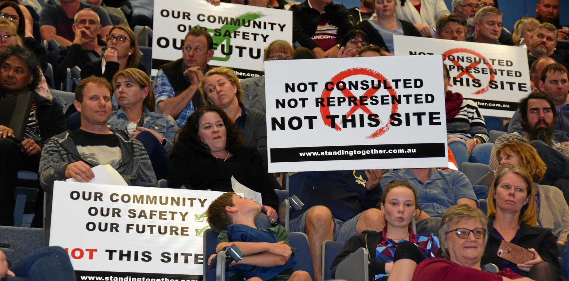 NOT HERE: Residents protest the proposed location of Rocky's first drug facility.