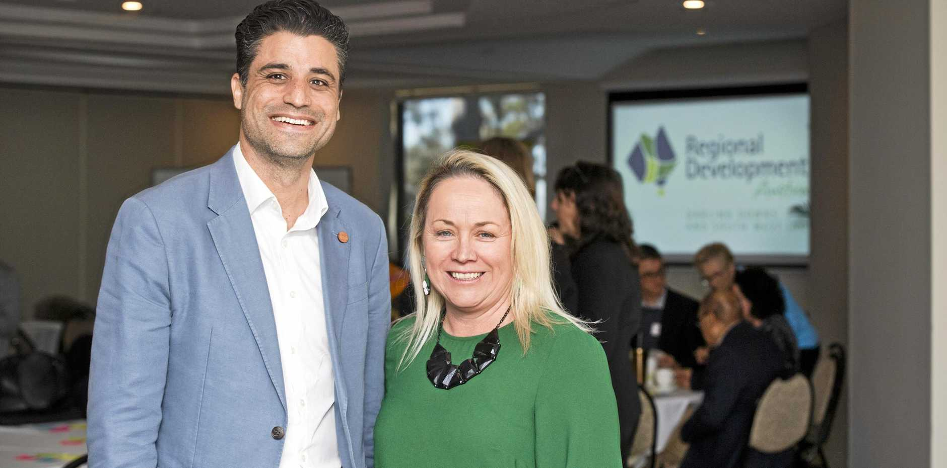 MAKING CONNECTIONS: Aleem Ali from Welcoming Australia and Trudi Bartlett from Regional Development Australia Darling Downs were at a special forum on migration.