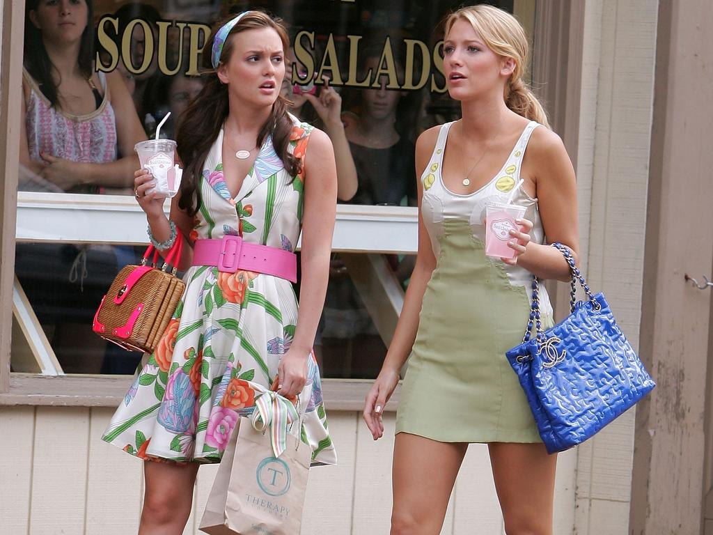 Leighton Meester and Blake Lively pictured shooting Gossip Girl in Port Washington, New York, in 2008. Picture: James Devaney/WireImage
