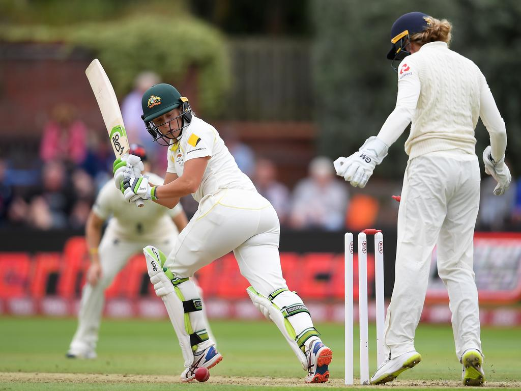 Alyssa Healy of Australia is bowled by Kirsty Gordon of England. Picture: Alex Davidson/Getty Images