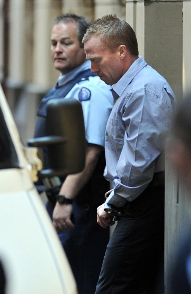 Adrian Bayley leaves the Supreme Court in Melbourne after being sentenced for the murder and rape of Jill Meagher. Picture: Jon Hargest