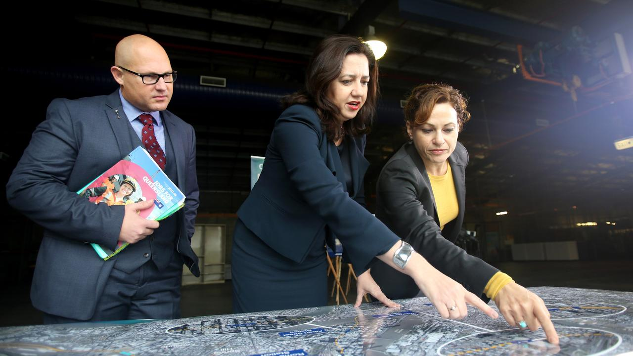 Curtis Pitt, Annastacia Palaszczuk and Jackie Trad at a Cross River Rail press conference in Woolloongabba. Photo: Steve Pohlner