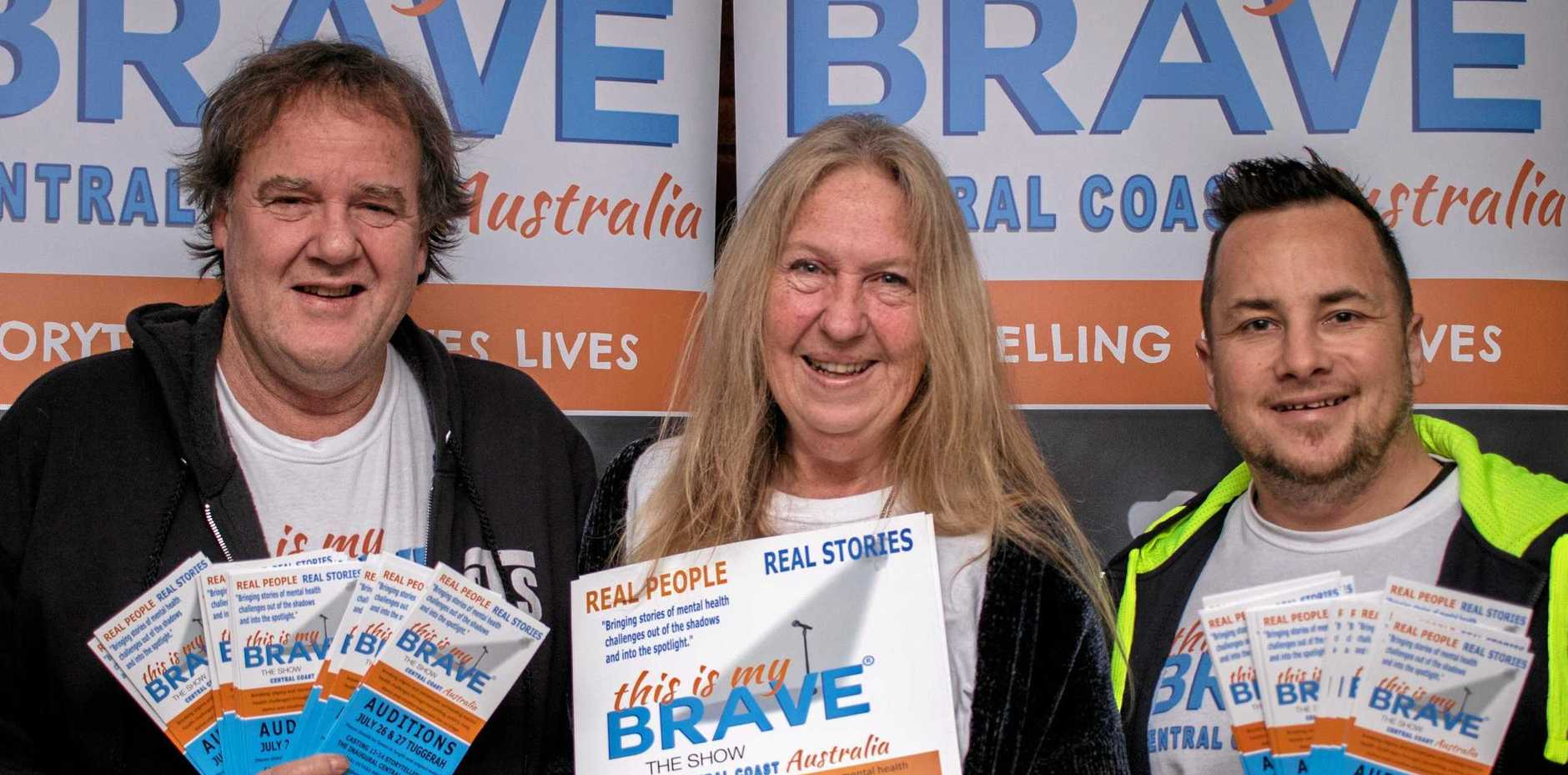 BE BRAVE: This is My Brave Australia - Central Coast show producers Ross Beckley and Veronique Moseley, of Behind the Seen, and Greg Smith, of Men Care Too.