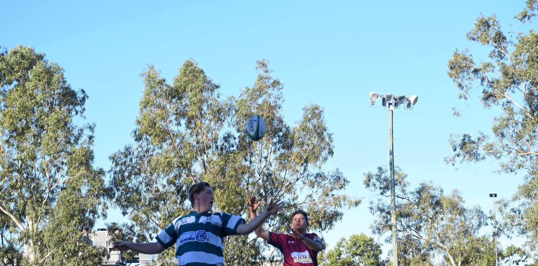 TIGHT CONTEST: Caleb Cheal, Emerald and Emerson Ohl, Capella contest a lineout at the Rams' last home game of the regular season.