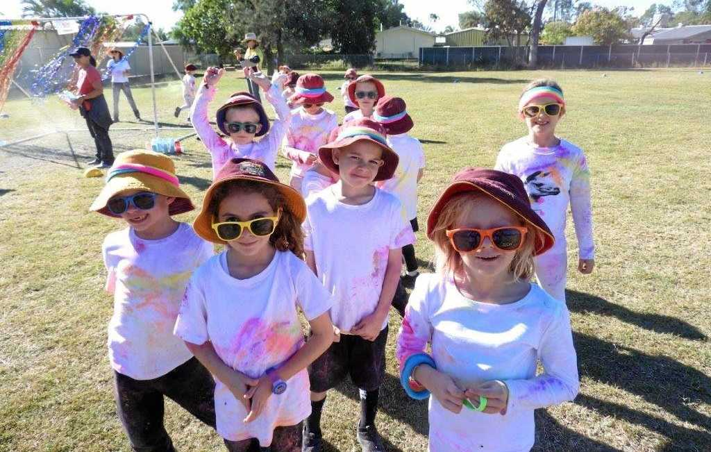 MAKE A RAINBOW: Denison State School's colourful students enjoy the Colour Run.