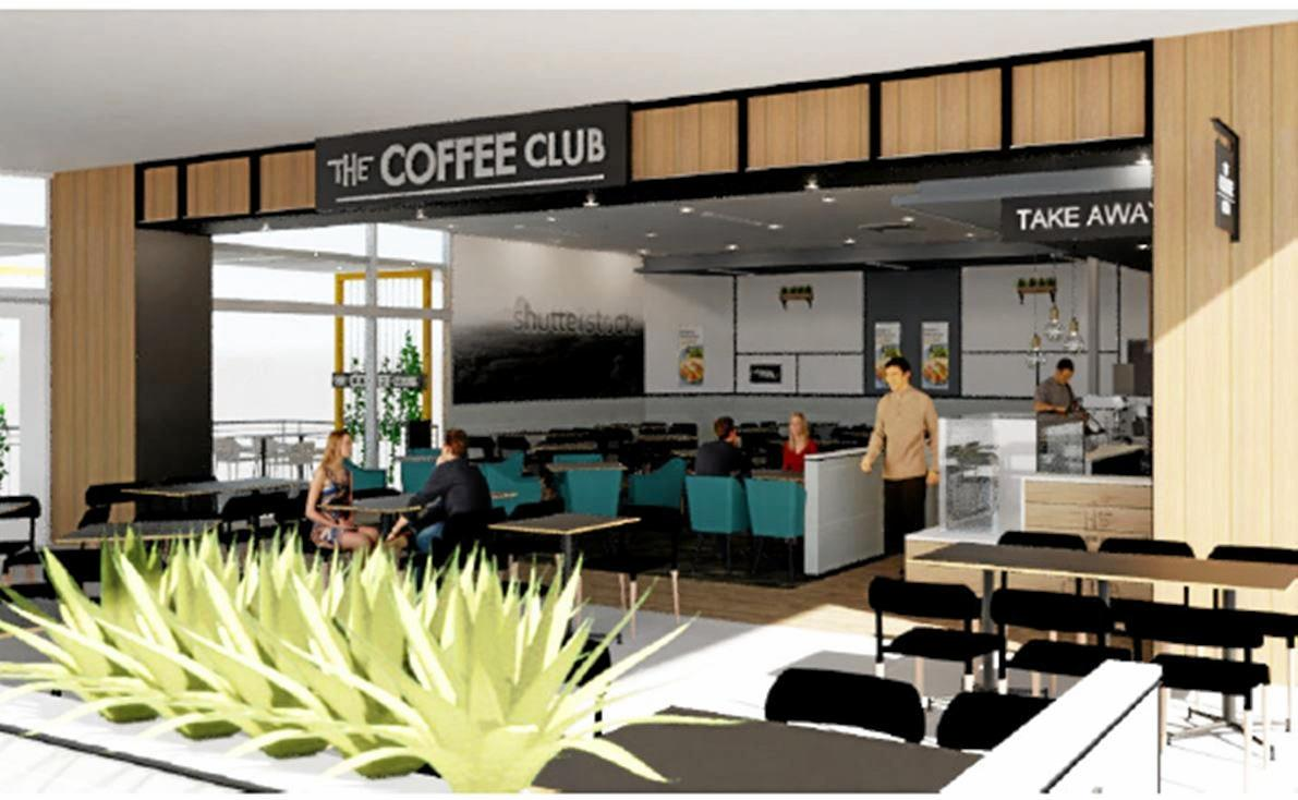 An artist impression of new Coffee Club cafe opening in Gympie Central Shopping Centre.