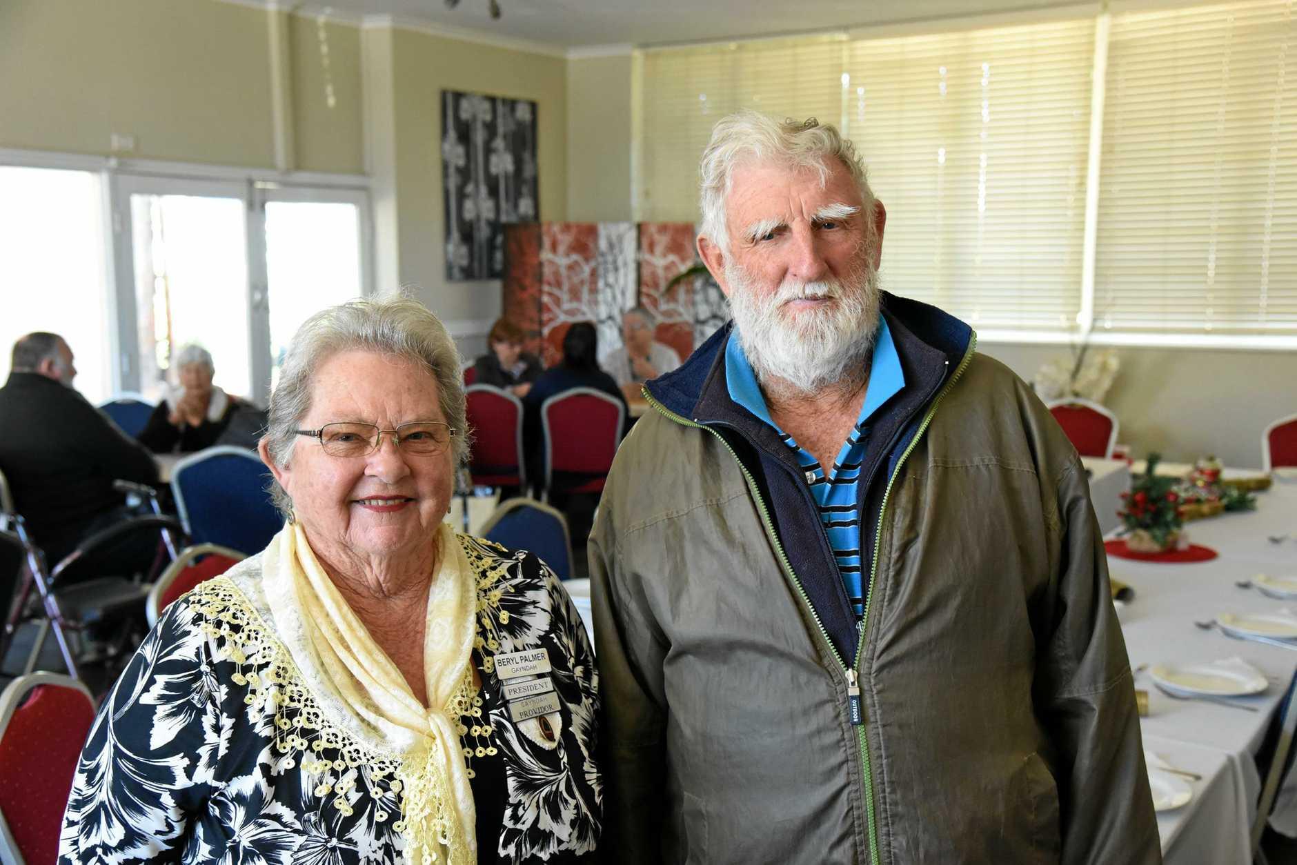 Gayndah Senior Citizens president Beryl Palmer and member John Stott at the club's Christmas in July event at the Golden Orange Hotel Motel on Thursday, July 18.