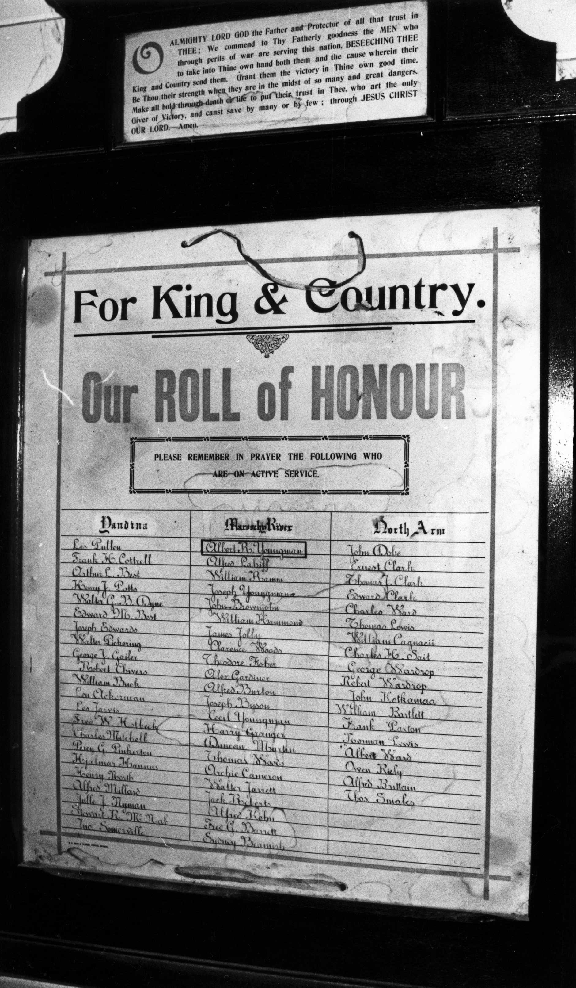 M865199 - Yandina, Maroochy River, North Arm Roll of Honour, World War I, Yandina School of Arts Hall, Yandina, ca 1988.