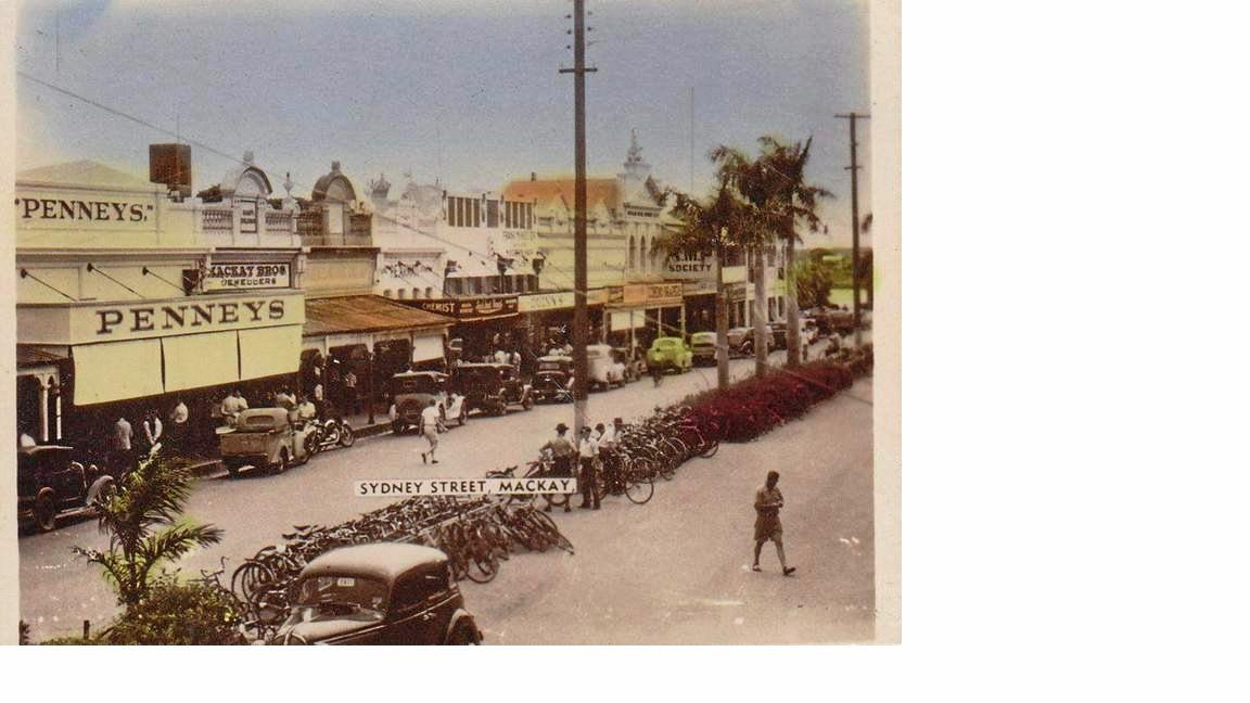 Historic: Mackay: 1940s: Street scene in Sydney St Mackay looking north towards the river and the Ambassador Hotel.