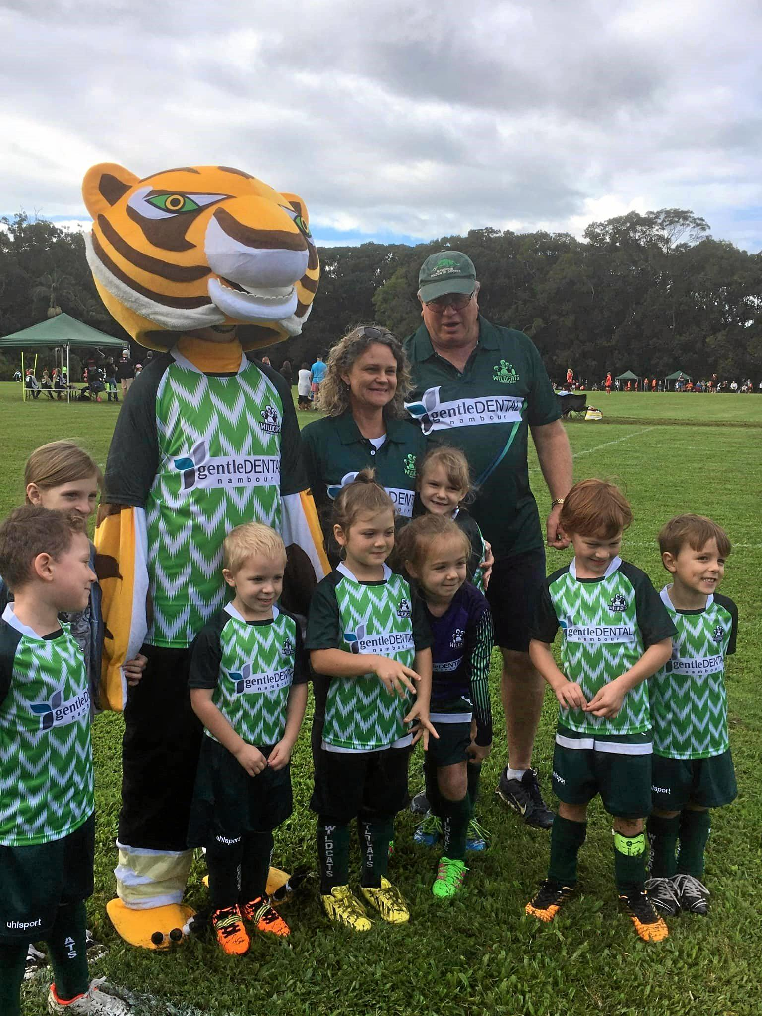 Nambour Wildcats Under 6 Black Leopard Cubs with the club mascot are enjoying their new home grounds at the PCYC Nambour.