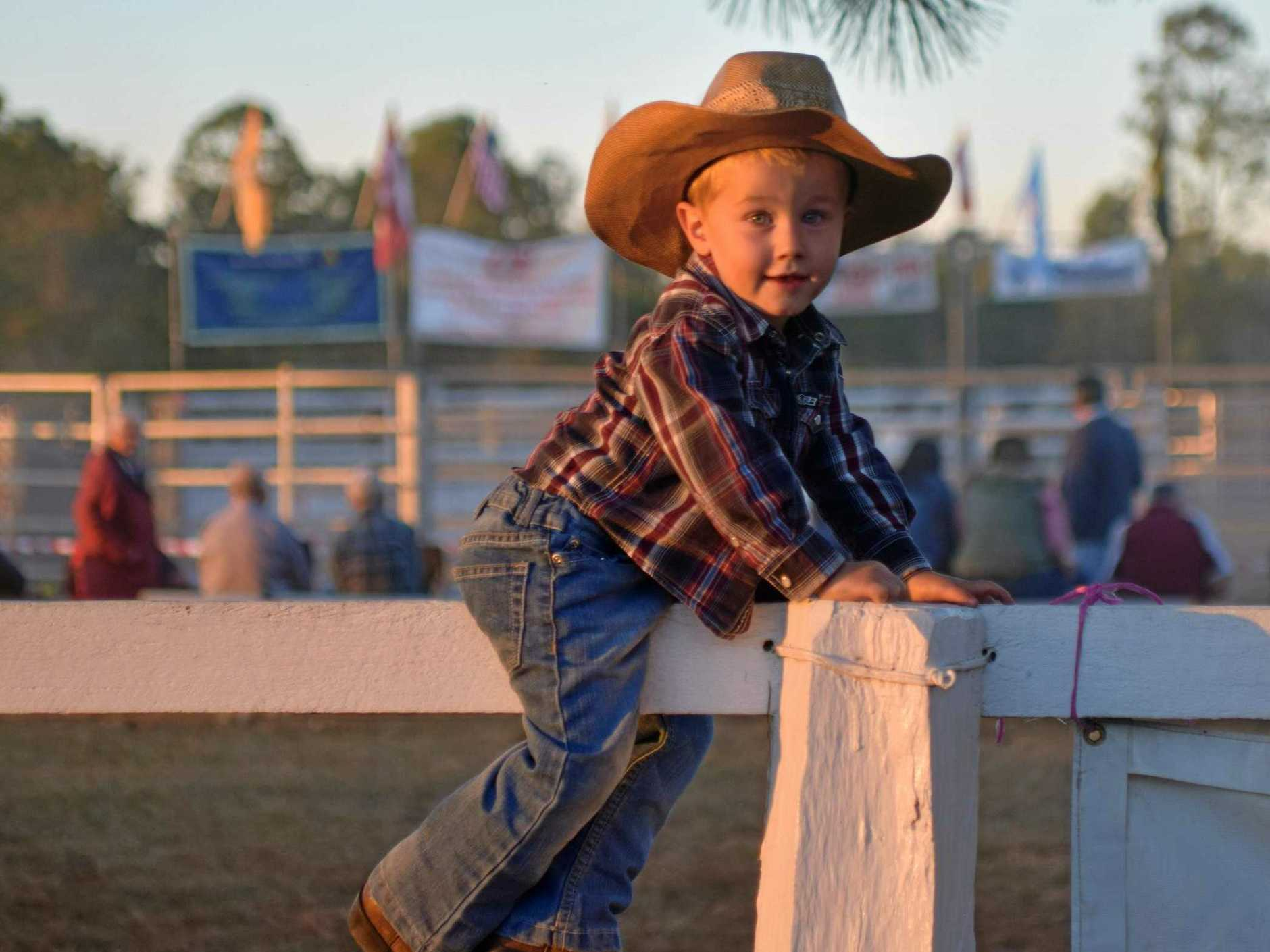 Australian rodeo champion Dave Kennedy's son at the Rappville Rodeo.