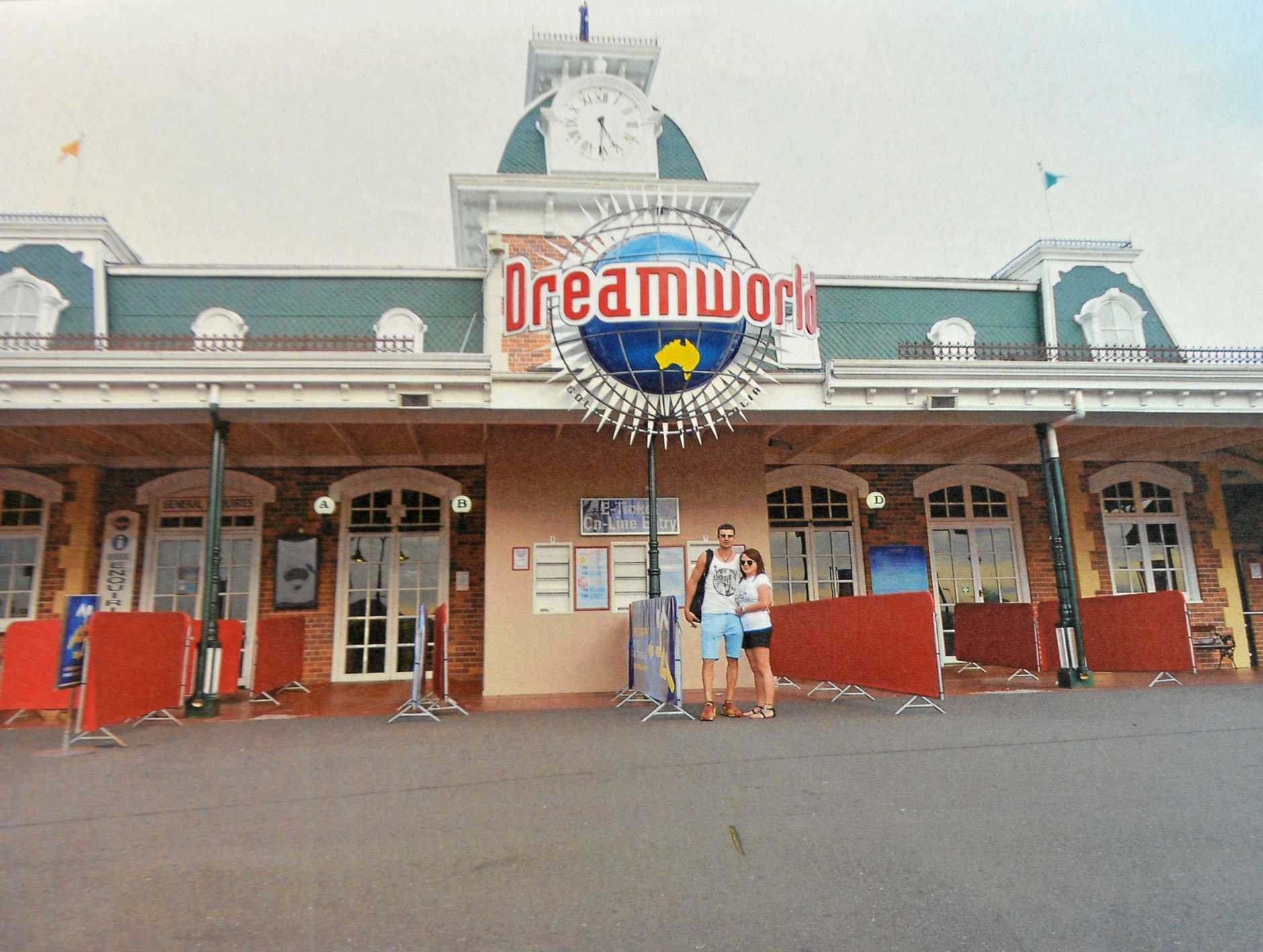 Shandee Blackburn and John Peros at Dreamworld. Date unknown. This photo was tendered as part of a coronial inquest into the 23 year old's death.
