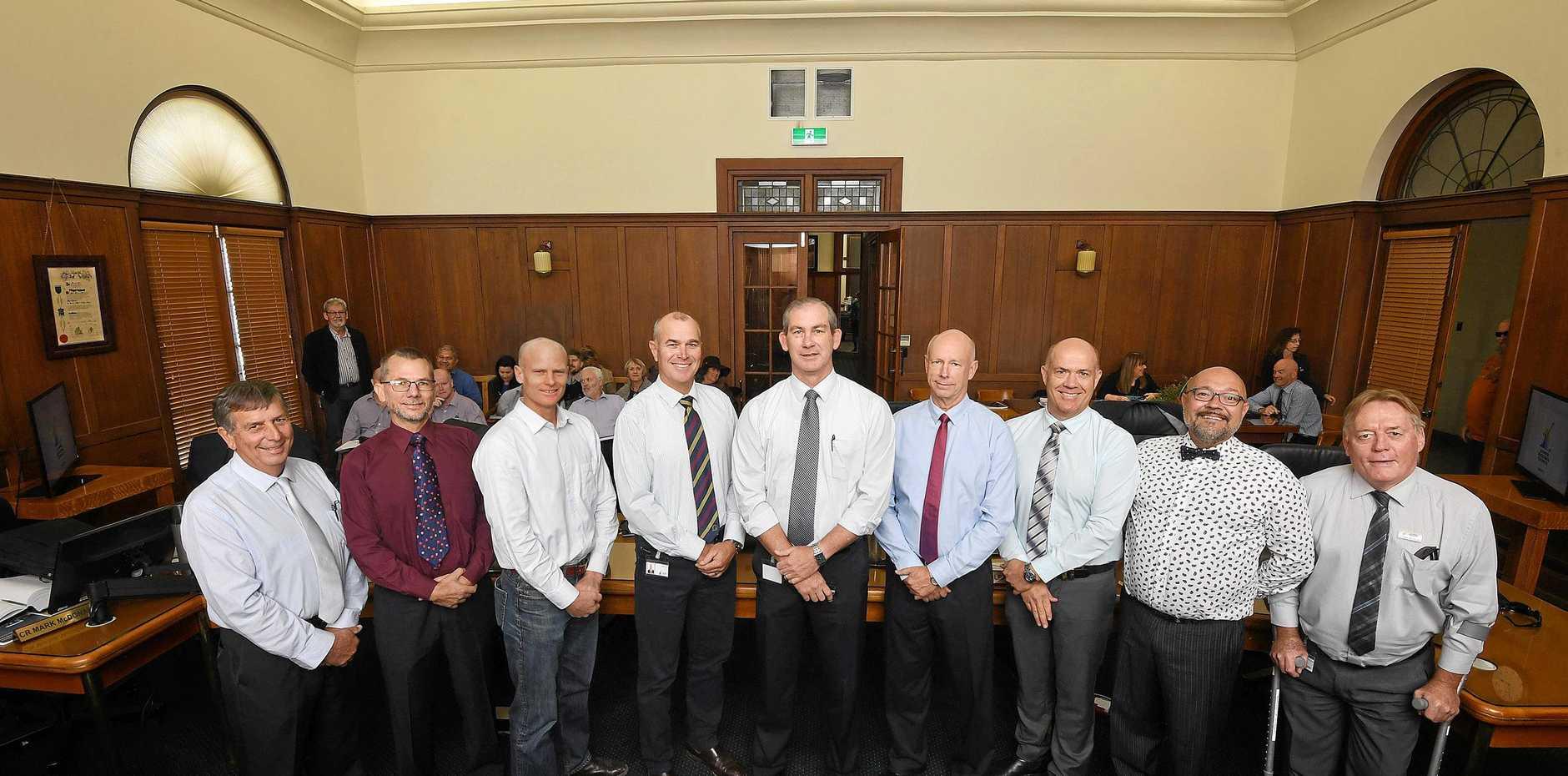 The all male Gympie council Hilary Smerdon, Dan Stewart, Glen Hartwig, Bob Leitch, Mick Curran, Bob Fredman, Mal Gear, Daryl Dodt and Mark McDonald.