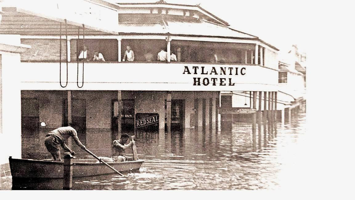 The old Atlantic Hotel during a Mary St flood.  CONTRIBUTED