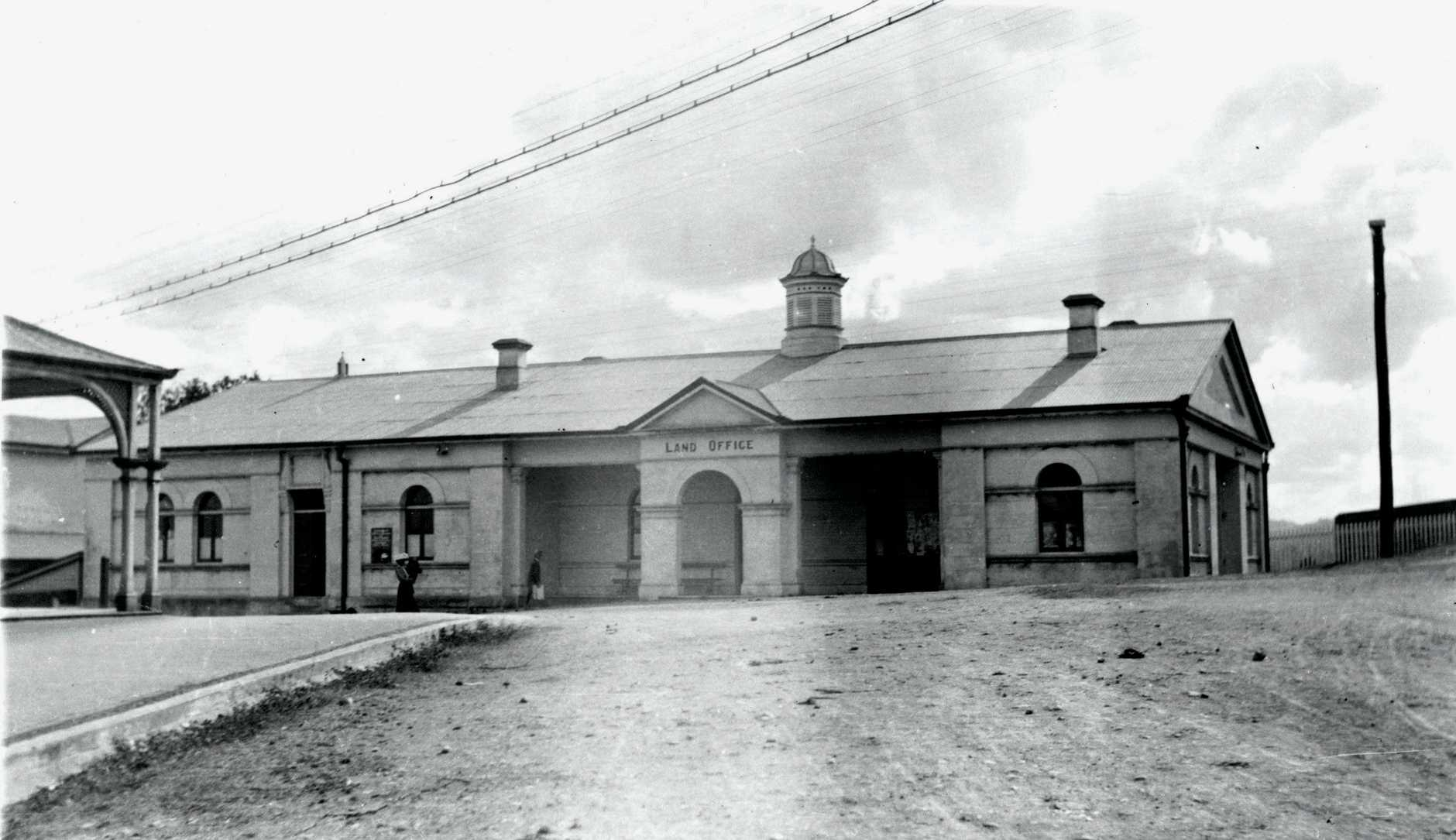 After serving as a court house, the Gympie Land Office went on to become the Land Office c1911.Attribution: State Library of Queensland