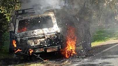 Firefighters rushed to the scene after reports a Landcruiser had caught alight at Montville on Friday afternoon.