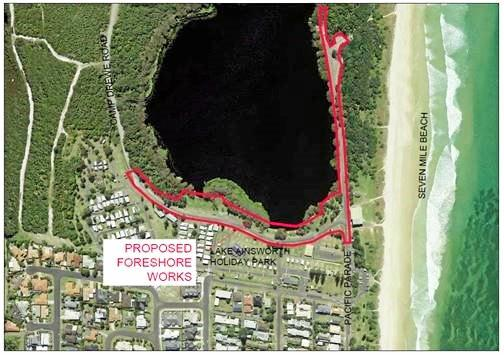 Location of Lake Ainsworth foreshore works (outlined in red).