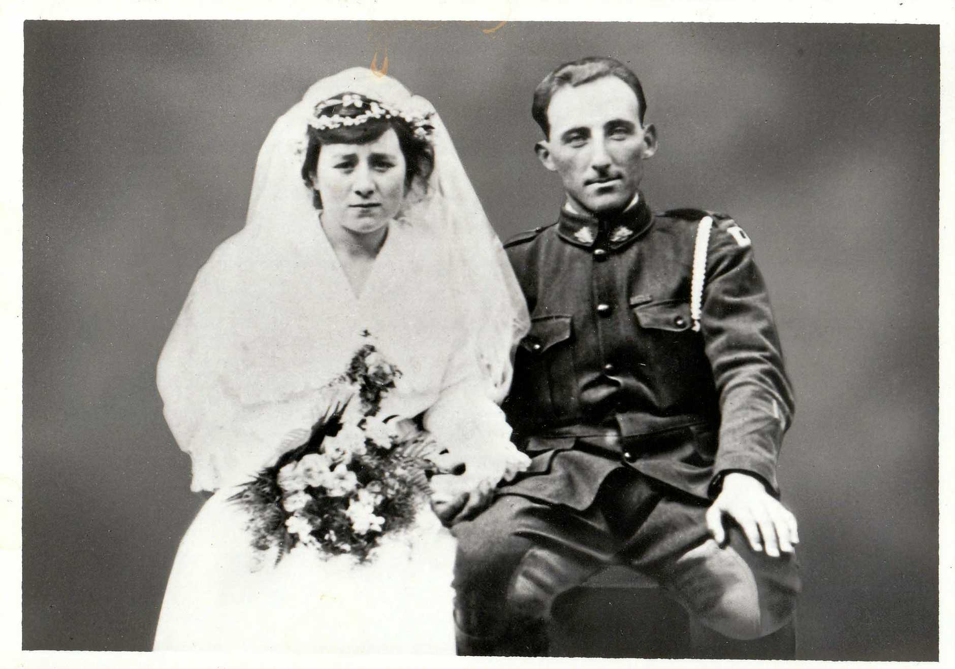 Joe & Nancy Reibel on their wedding day, July 13, 1919.