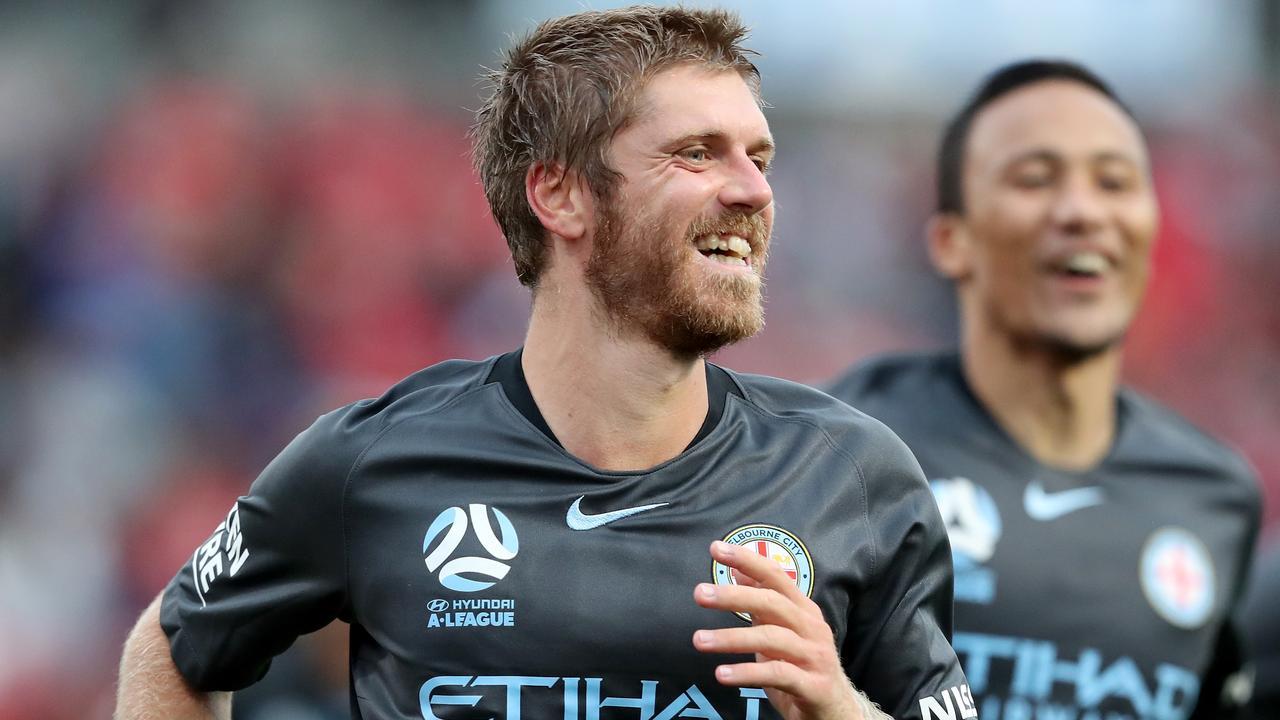Luke Brattan celebrates scoring a goal for Melbourne City. Picture: AAP